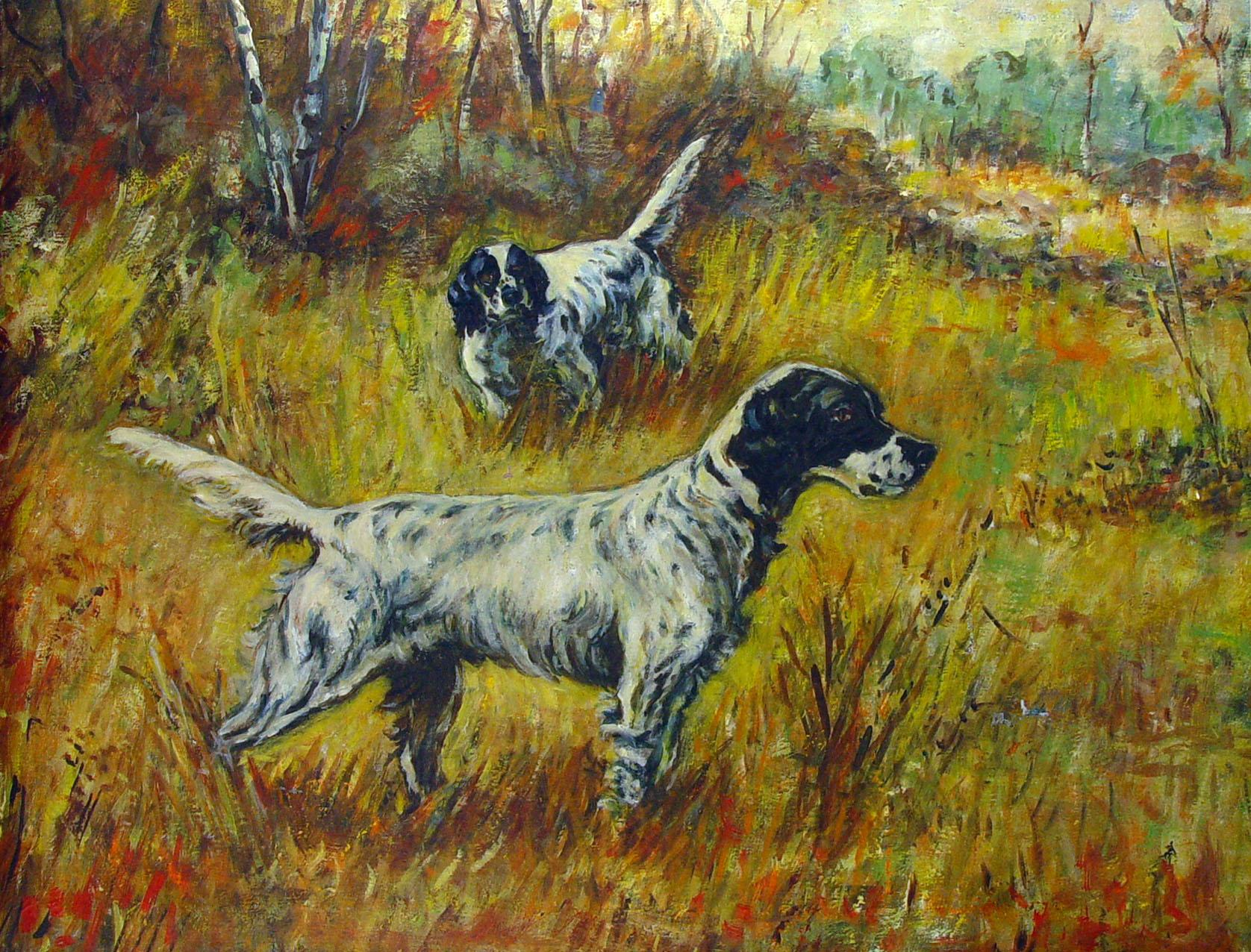 Hunting English Setters Oil Painting Chairish