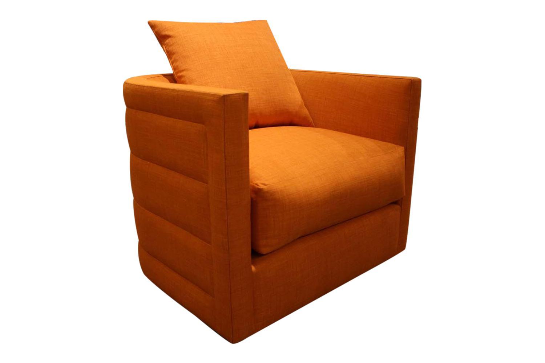 nathan anthony orange swivel chair chairish