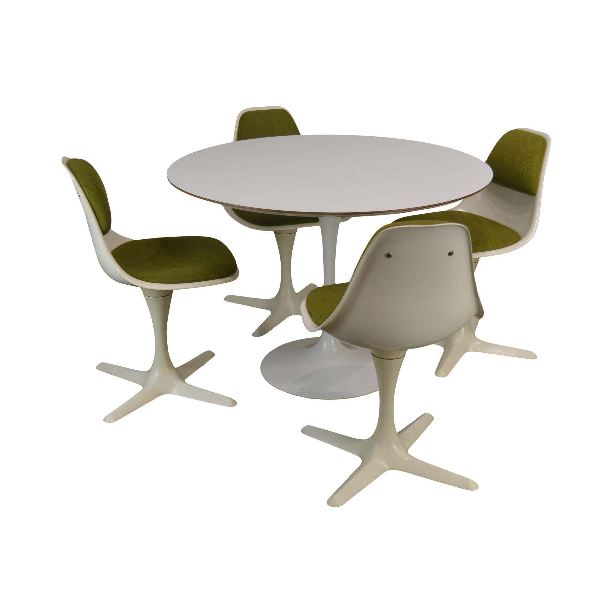 Cool Burke Inc Mid Century Modern Saarinen Style Tulip Round Table 4 Chairs Dining Set Unemploymentrelief Wooden Chair Designs For Living Room Unemploymentrelieforg