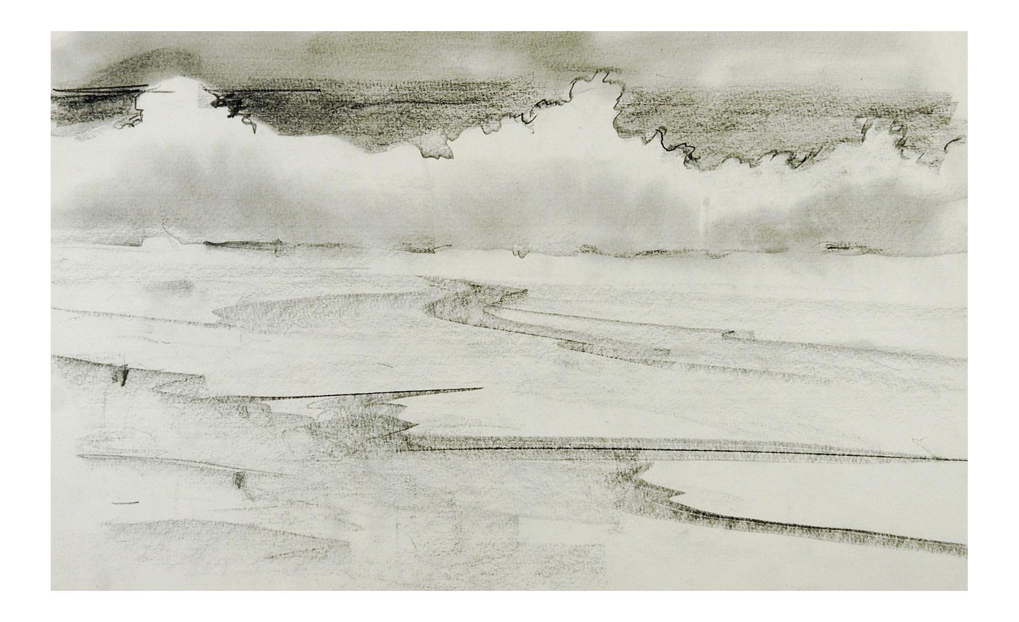Modernist Pencil Landscape Drawing Chairish