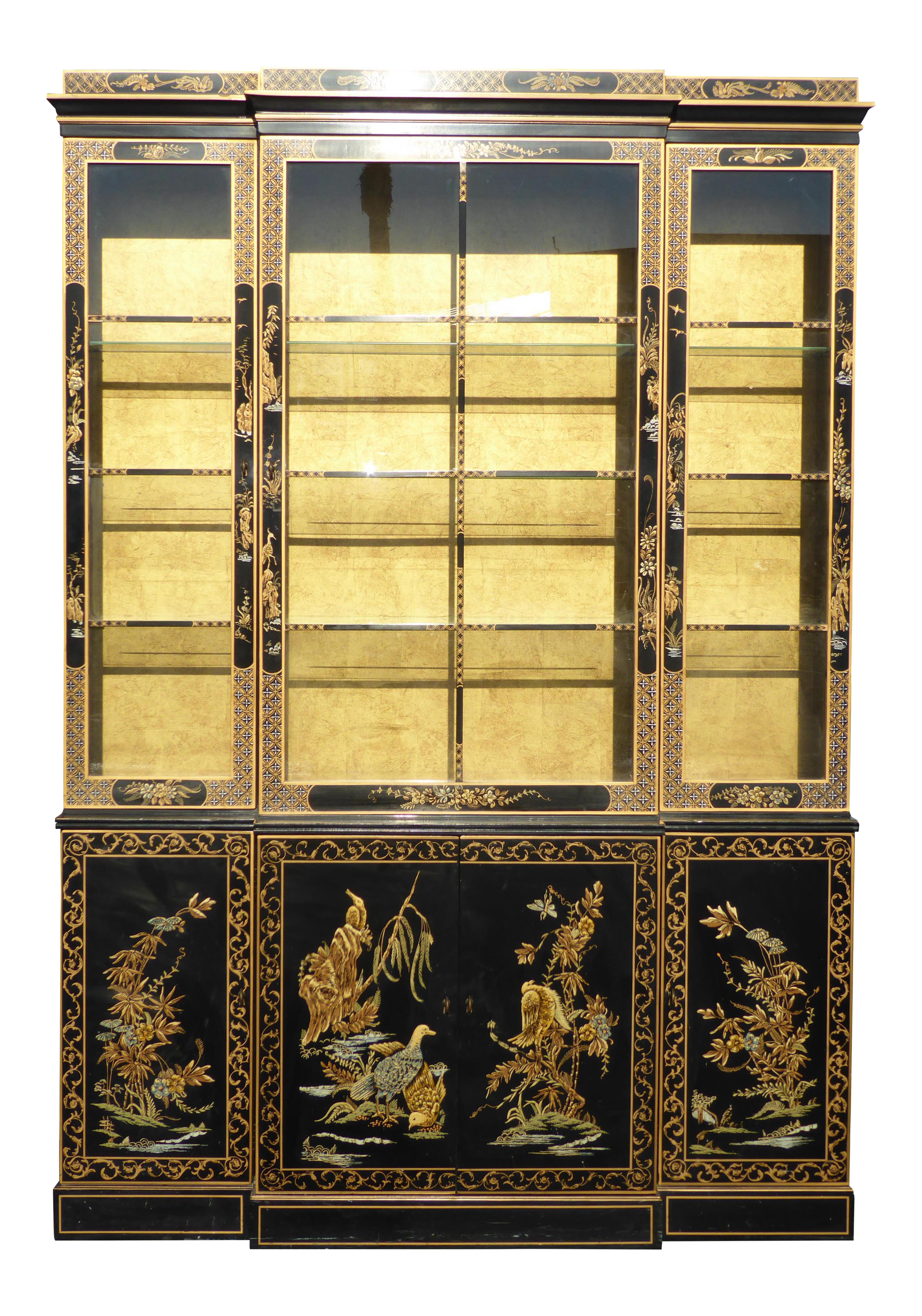 Drexel Heritage Vintage Asian Chinoiserie Black Lacquered U0026 Gold Gilt Hutch  China Cabinet | Chairish