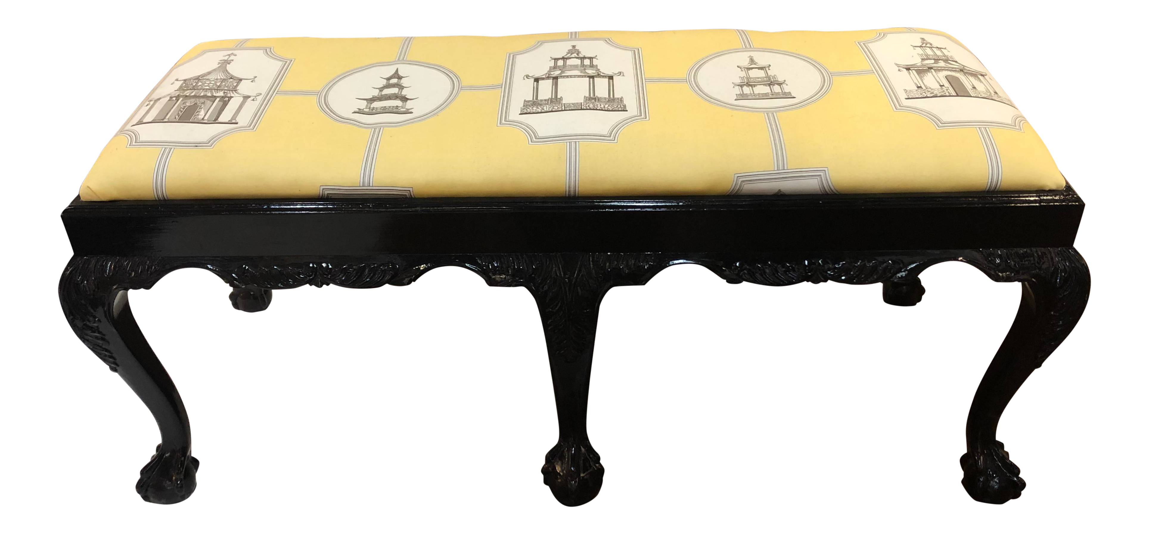 Awesome Chinoiserie Fabric Black Lacquer Claw Foot Bench Creativecarmelina Interior Chair Design Creativecarmelinacom