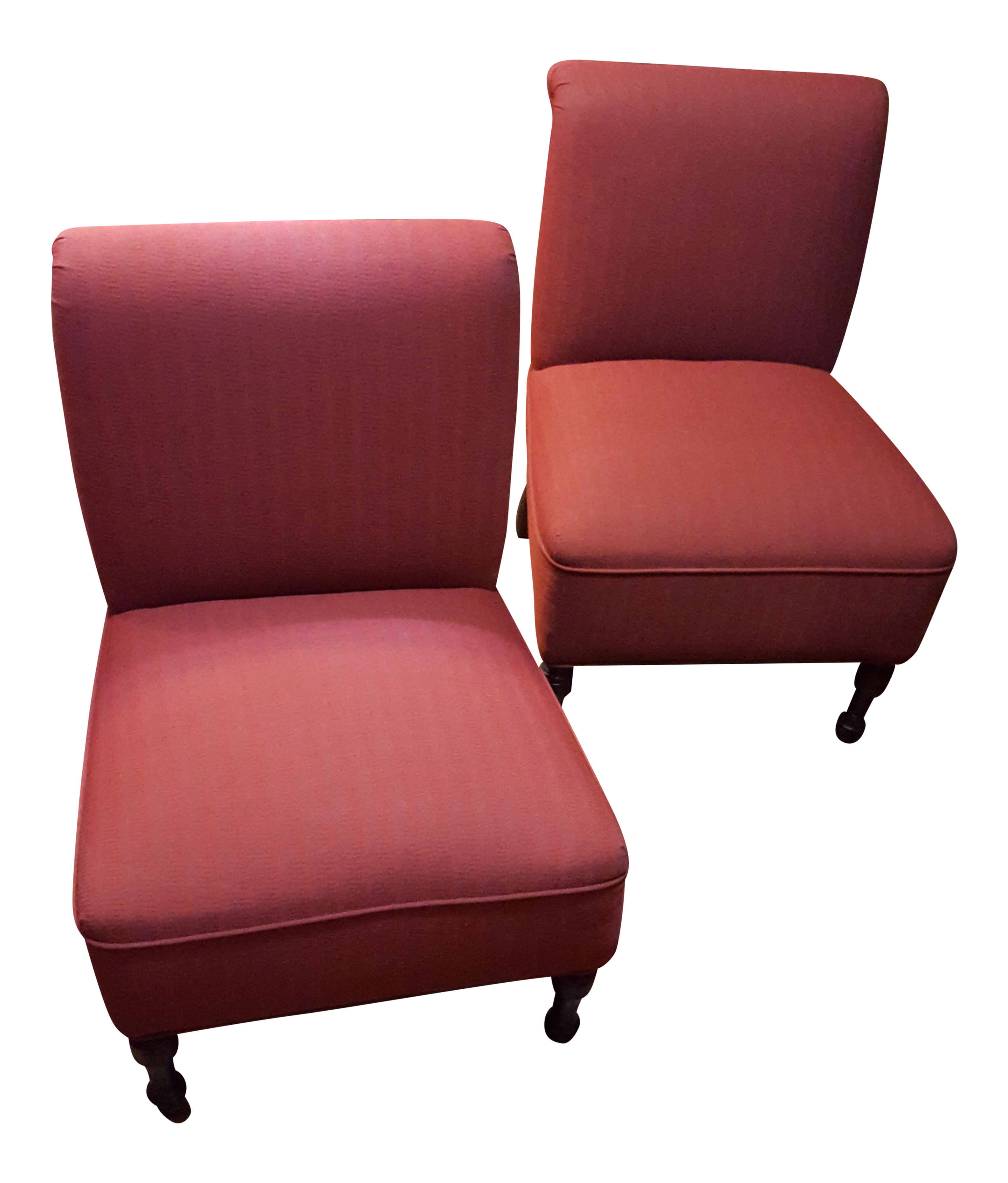 Red Accent Bombay Co Slipper Chairs A Pair Chairish
