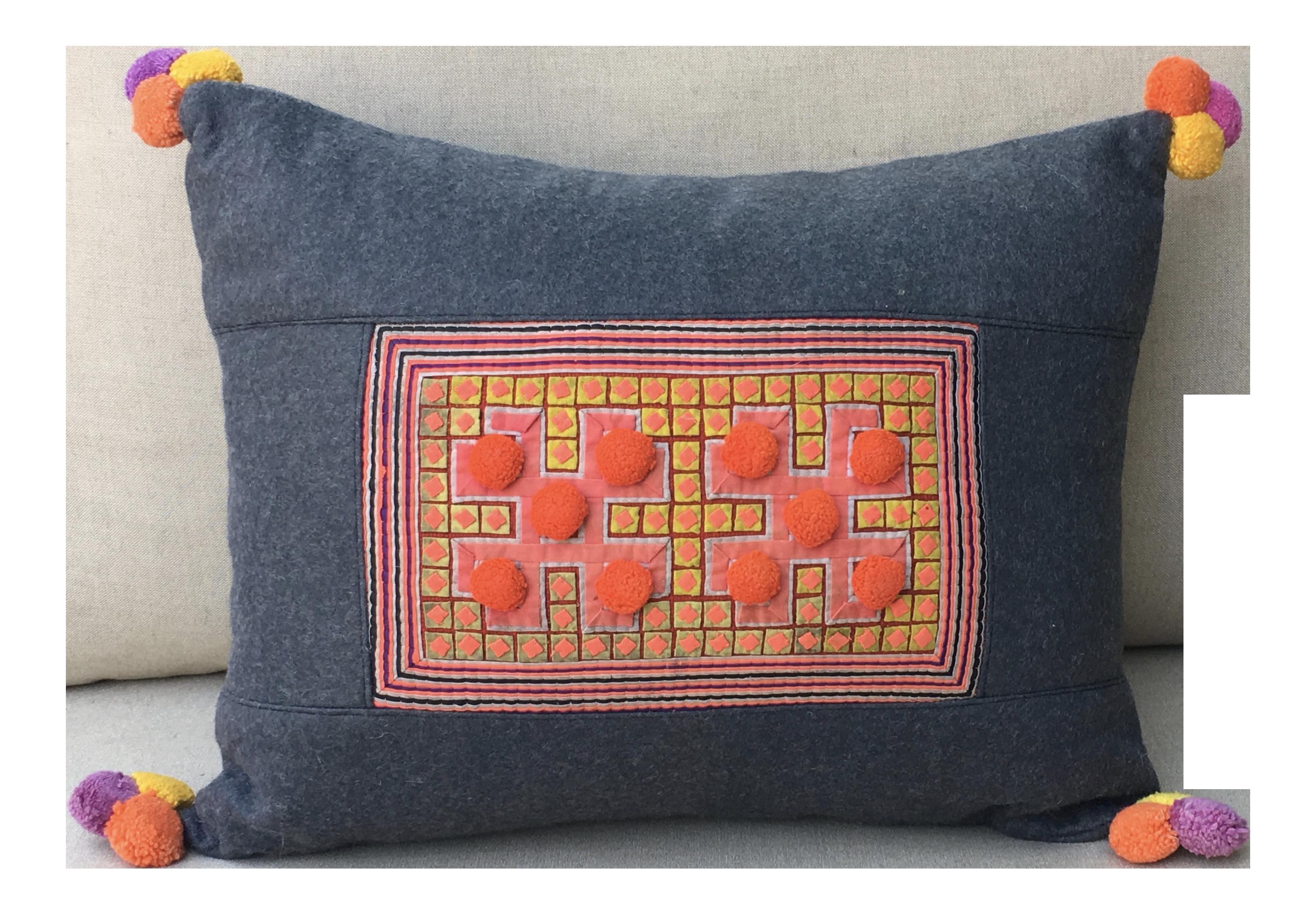 Vivid applique hmong textile pillow with pom poms chairish