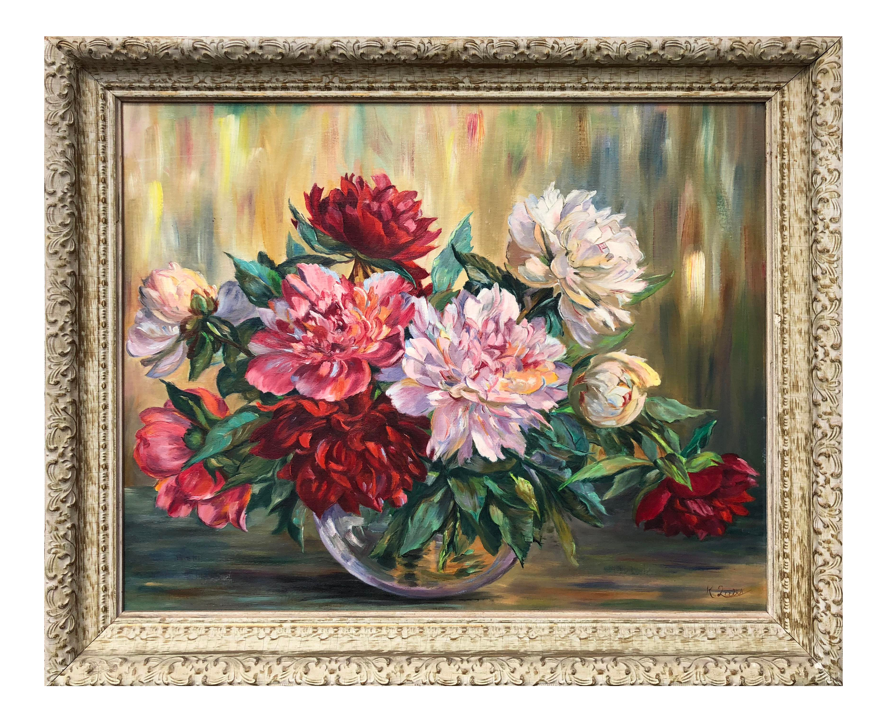 Vintage Floral Still Life Oil Painting Of Peonies Chairish