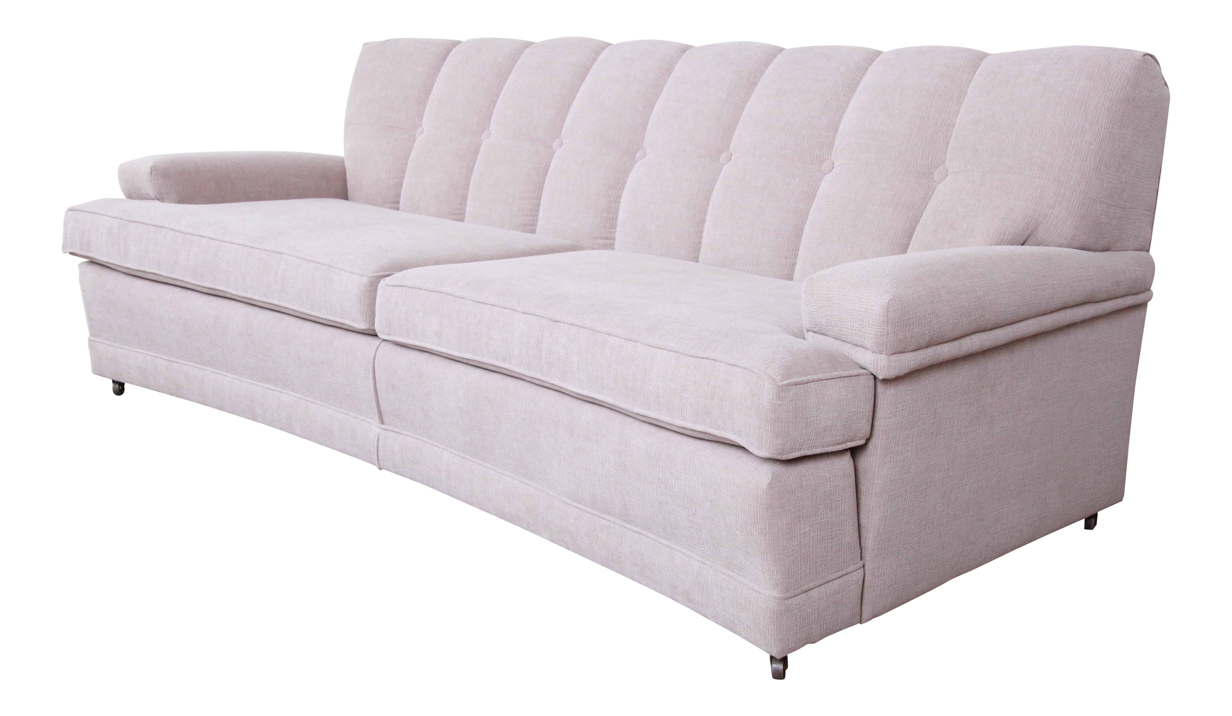 Mid-Century Modern Curved Tufted Sofa, Newly Reupholstered