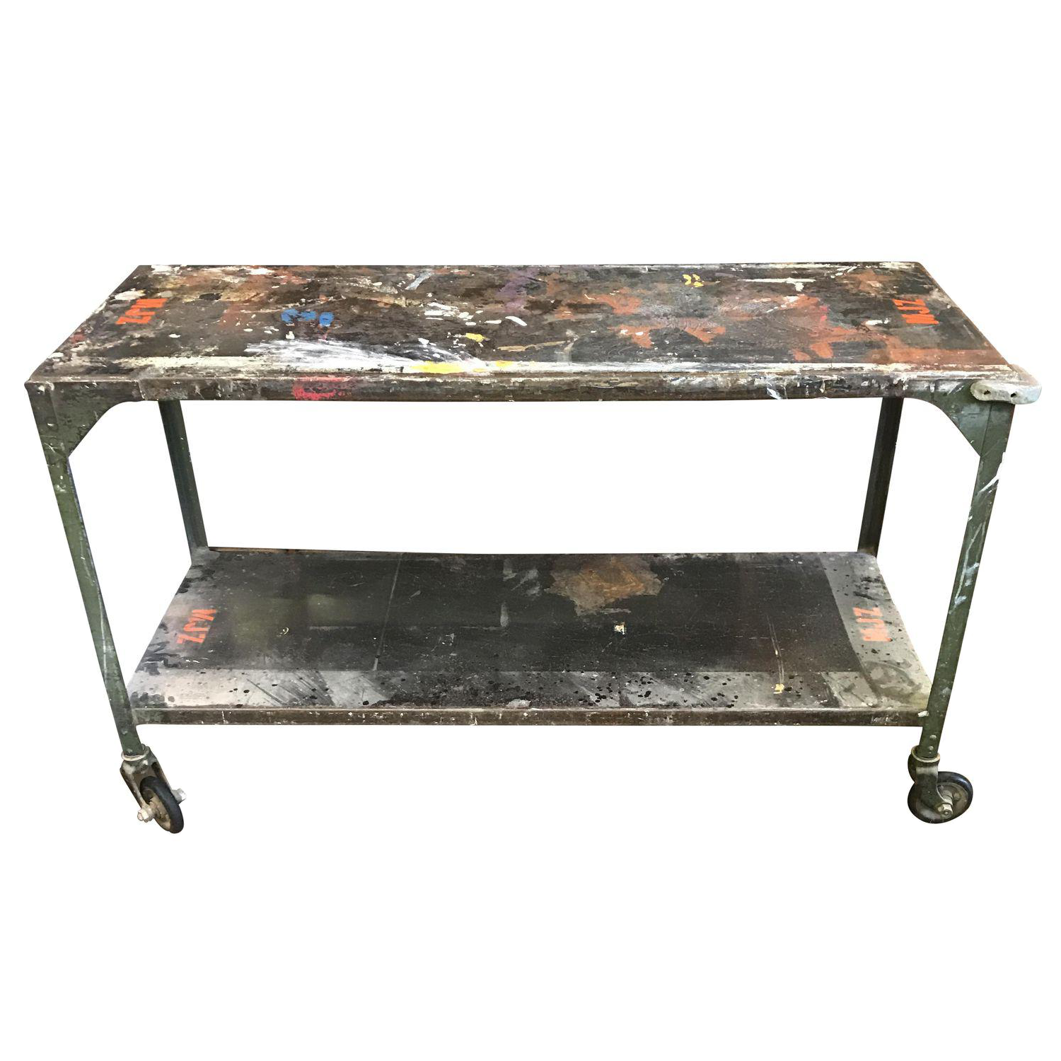 vintage industrial console table on casters chairish. Black Bedroom Furniture Sets. Home Design Ideas