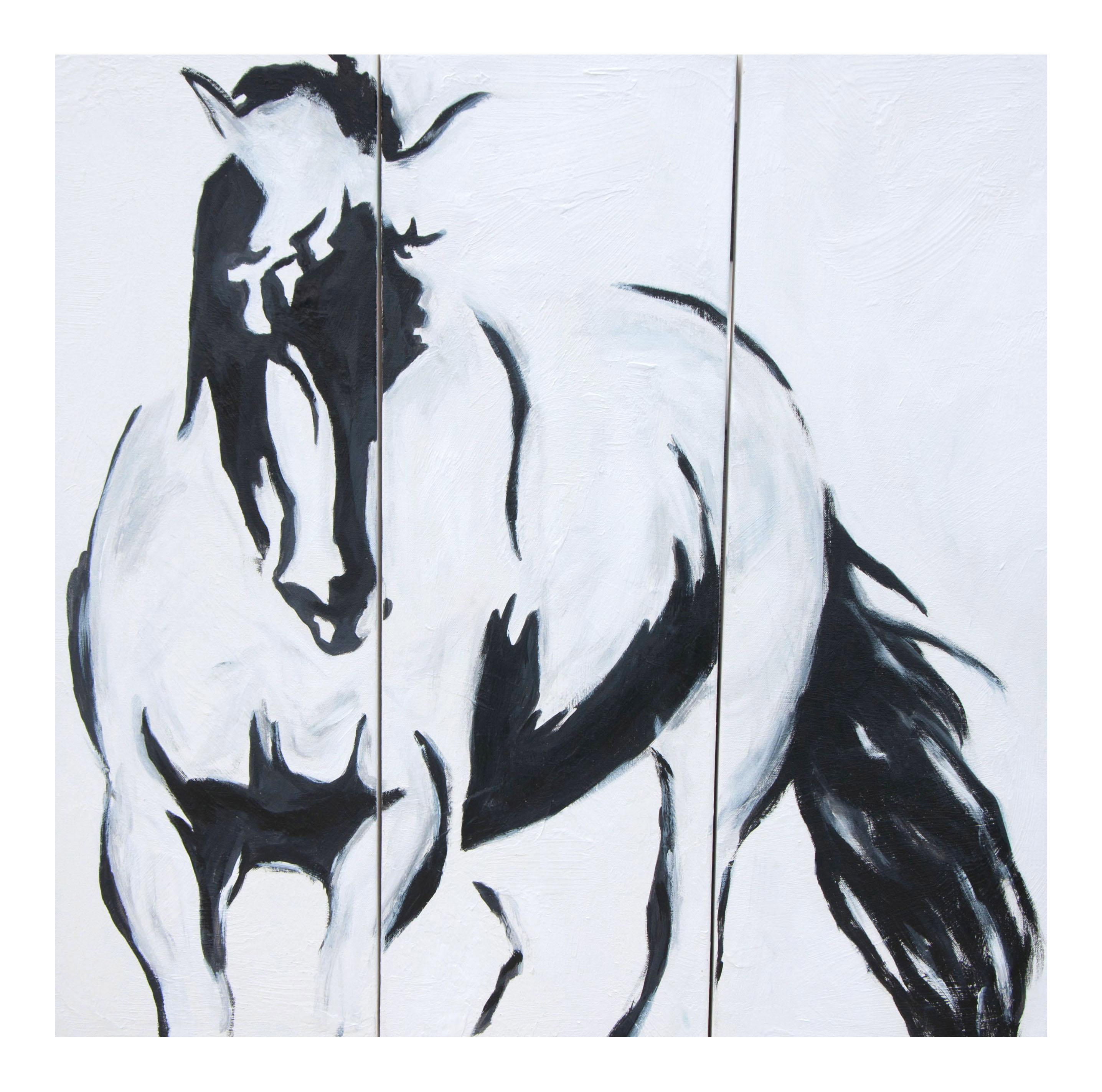 Emily Powell Black White Abstract Horse Painting Triptych Set Of