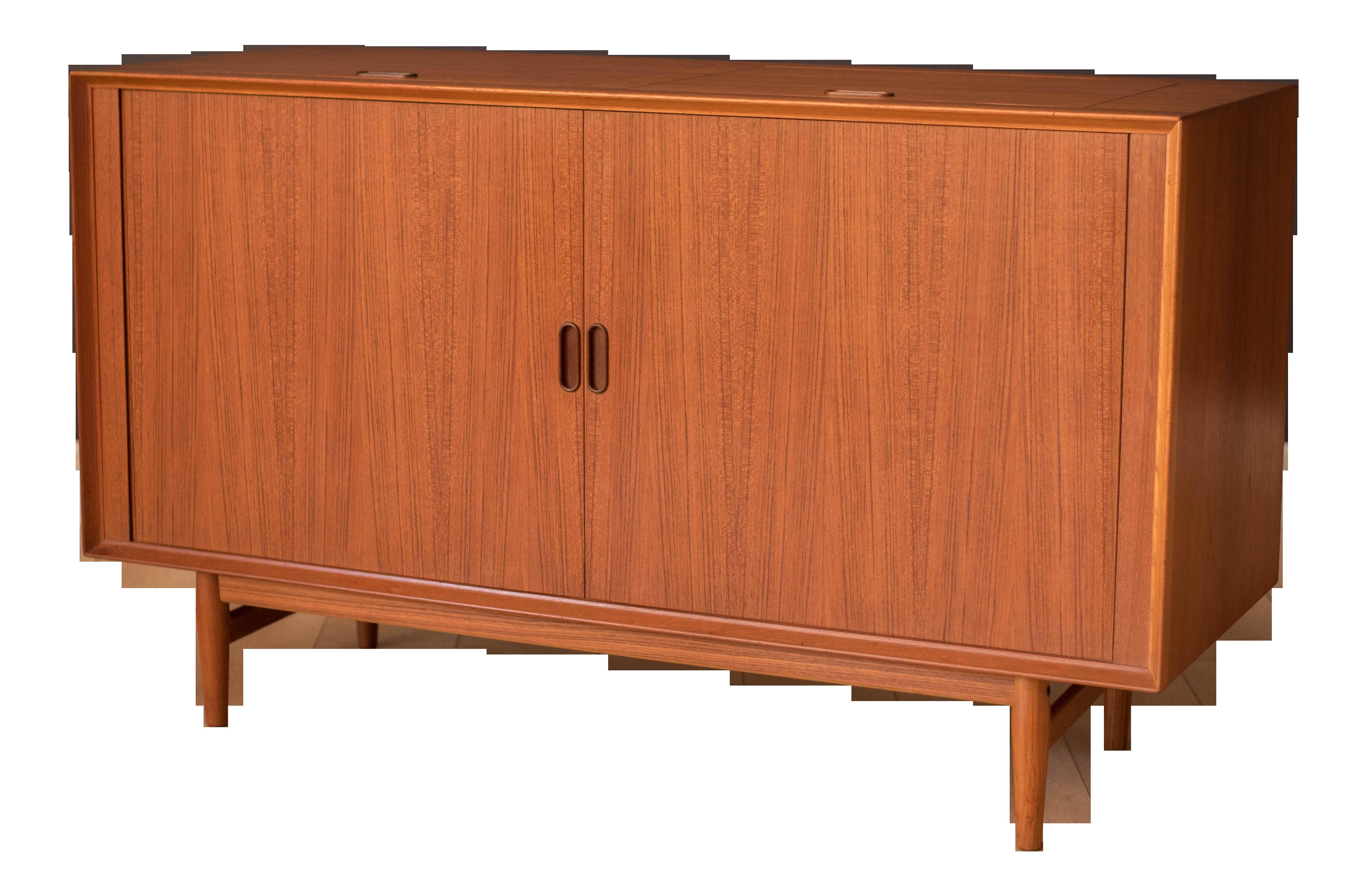 Mid Century Teak Sibast Tambour Door Stereo Console Cabinet By Arne Vodder Chairish