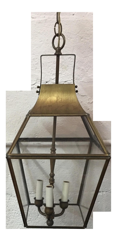 Vintage Underwriters Laboratories Brass & Glass Ceiling Lantern