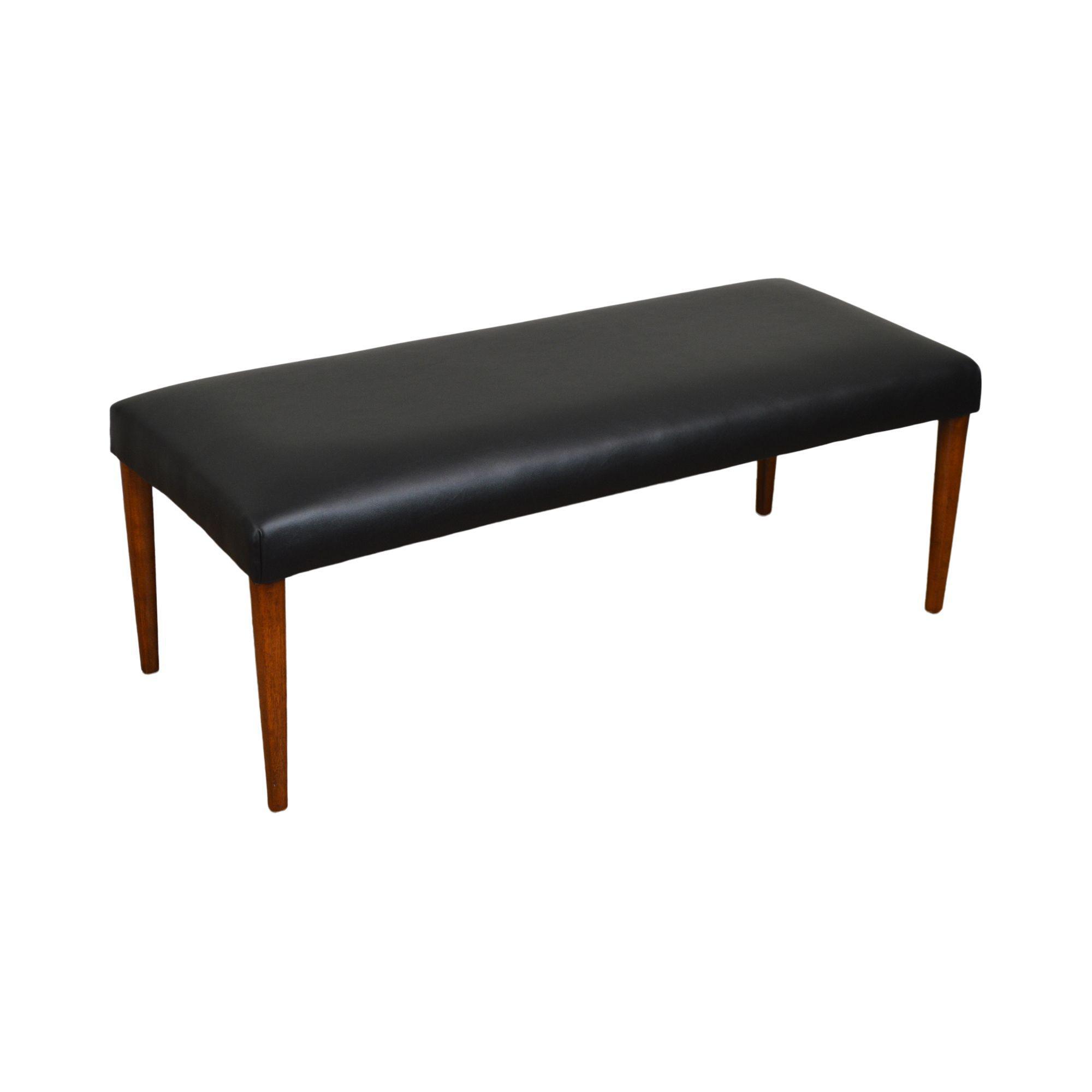 Image of: Danish Modern Mid Century Black Vinyl Seat Bench Chairish