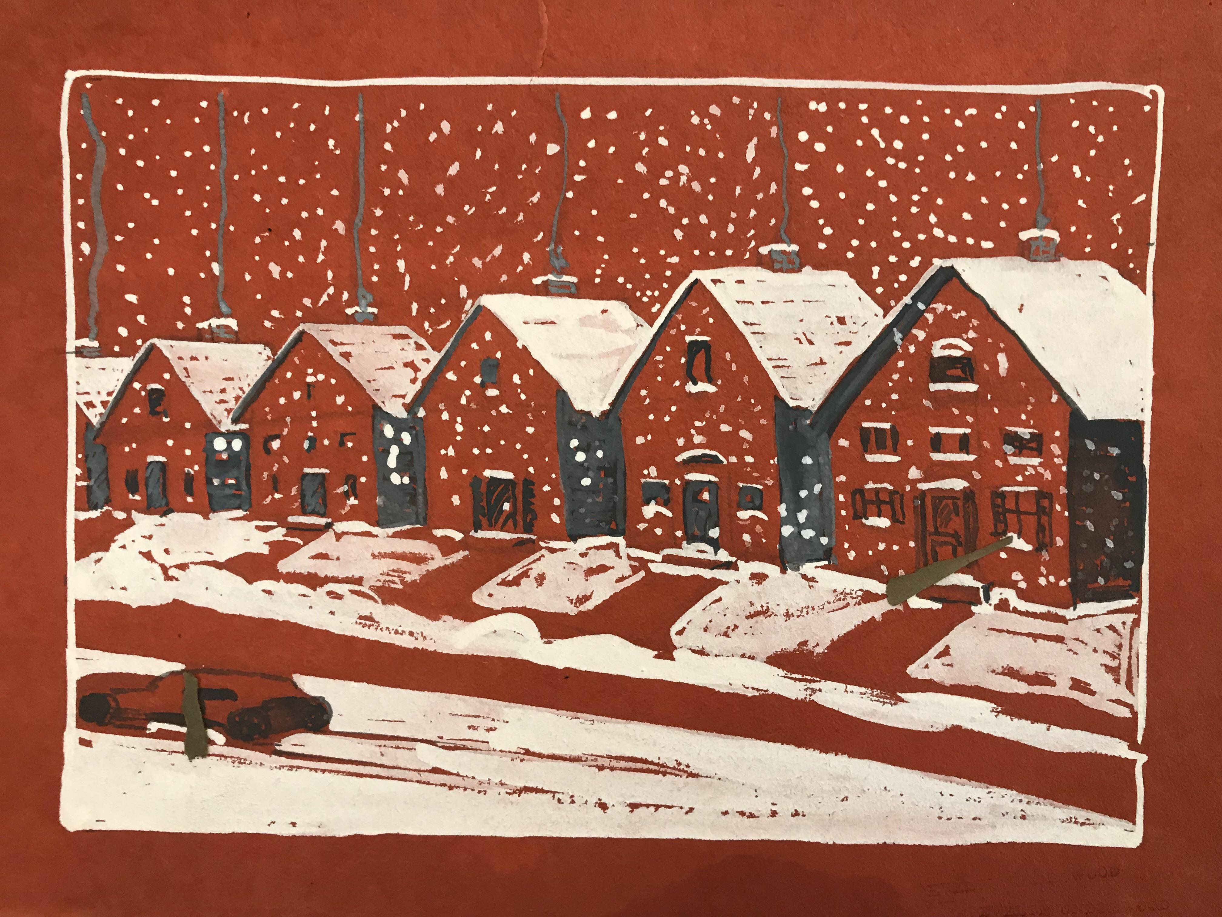 1940s Mid-Century Modern Painting Houses in Winter by Evelyn Underwood