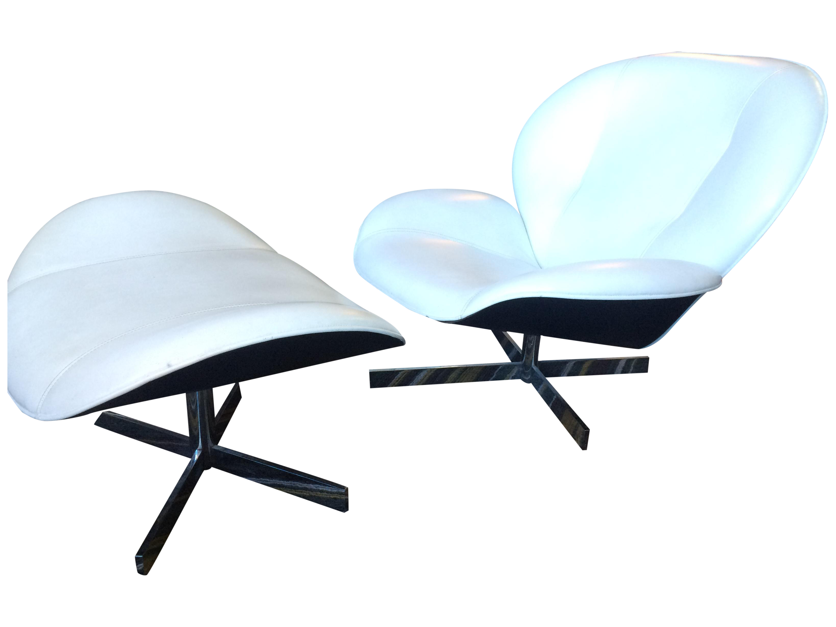 Ligne Roset Swivel Chair And Ottoman Chairish