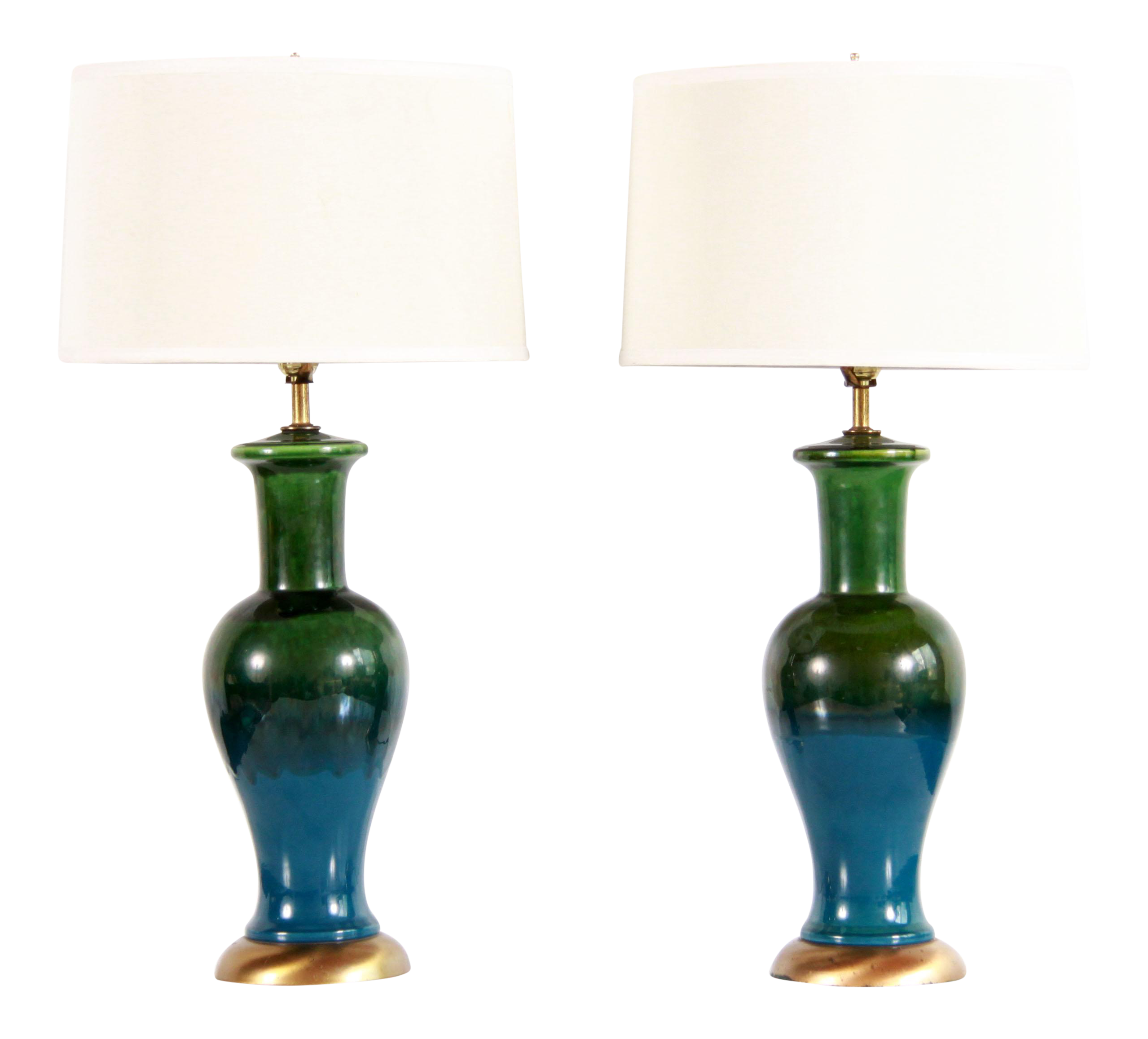 Image of: Mid Century Modern Blue Green Art Pottery Lamps A Pair Chairish