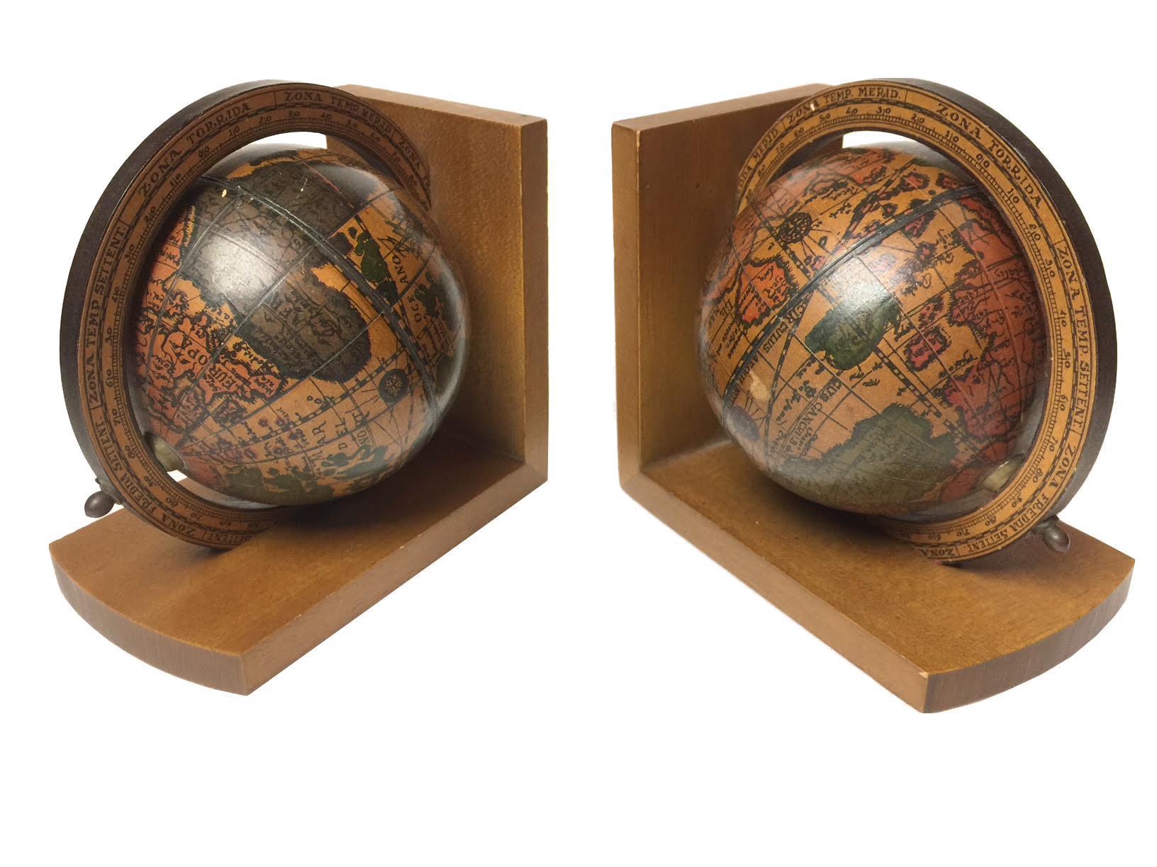 Mid Century Italian Wooden Globe Bookends A Pair Chairish