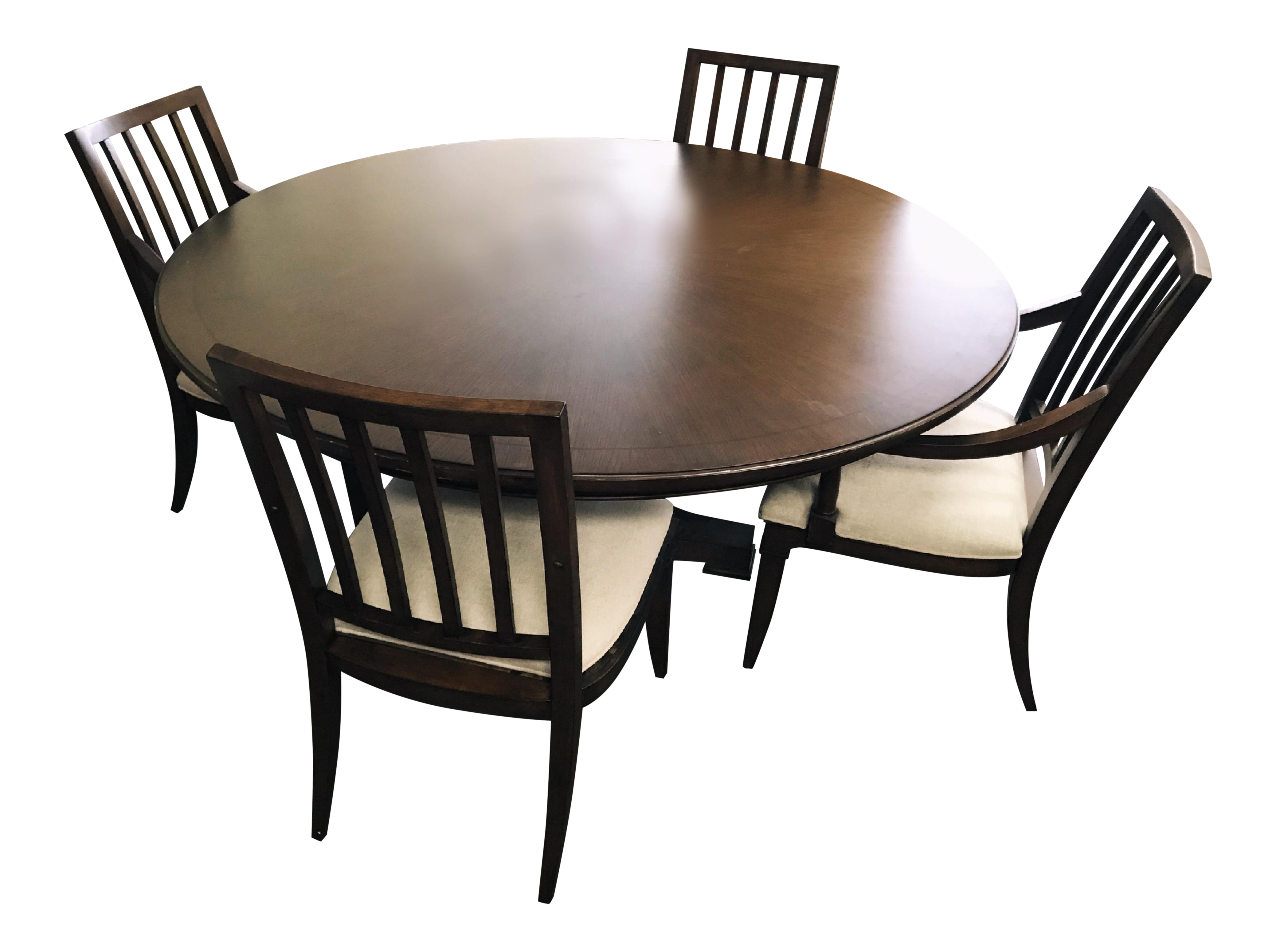 Thomasville Furniture Harlowe Finch Adelaide Round Oak Dining Set 5 Pieces