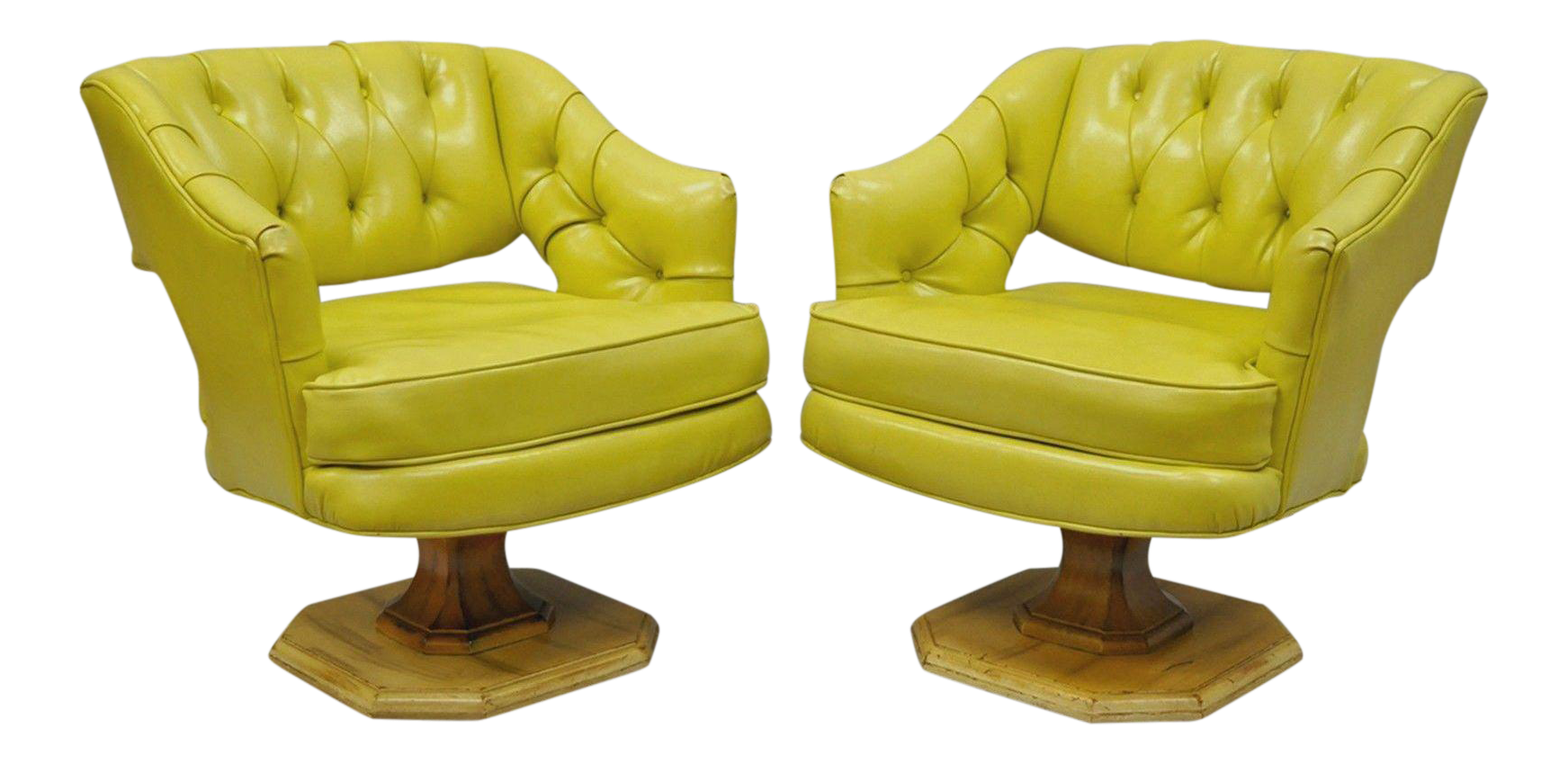 Mid Century Modern Silver Craft Green Yellow Swivel Club Lounge Chairs A Pair Chairish