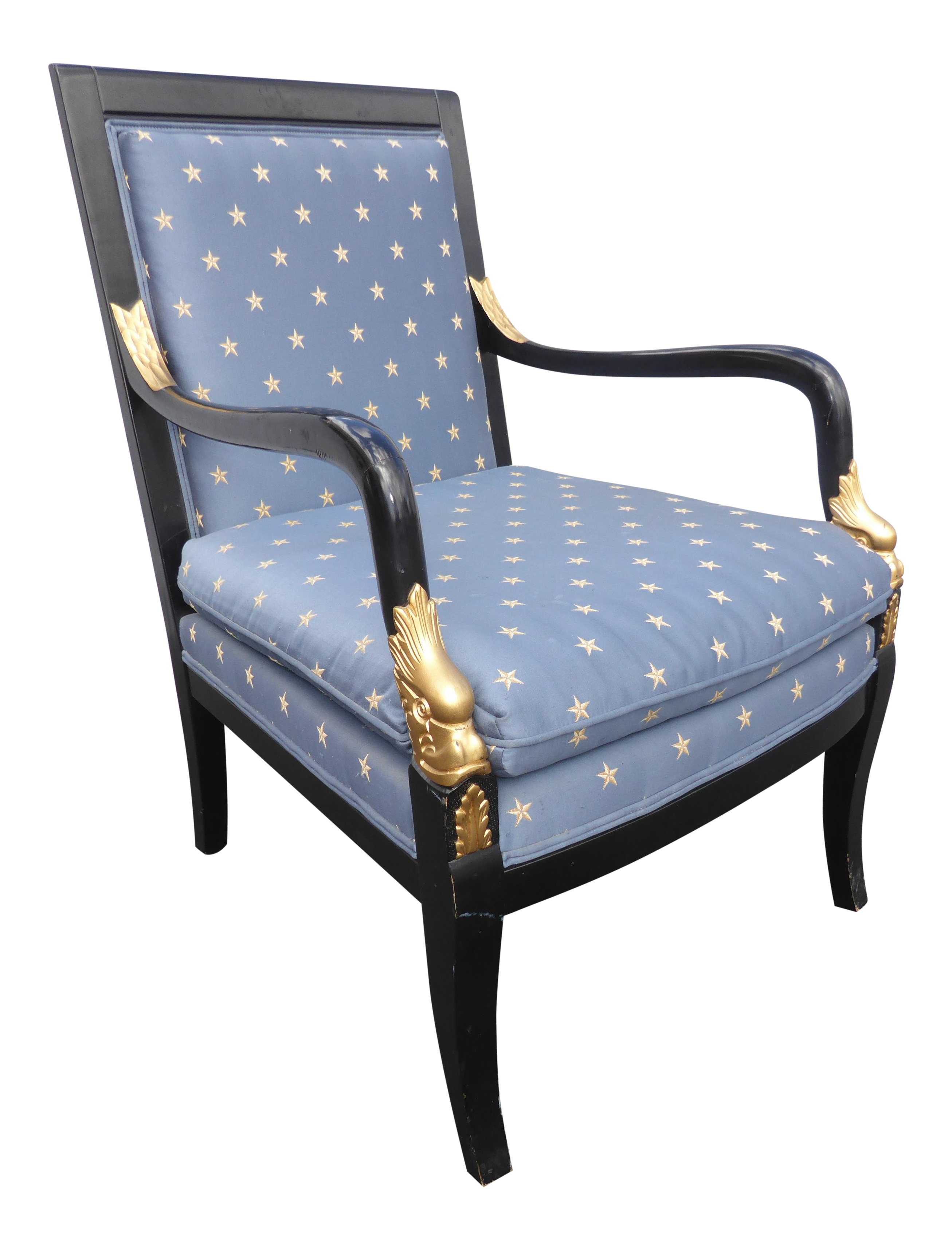 Vintage Ethan Allen French Country Blue Accent Chair