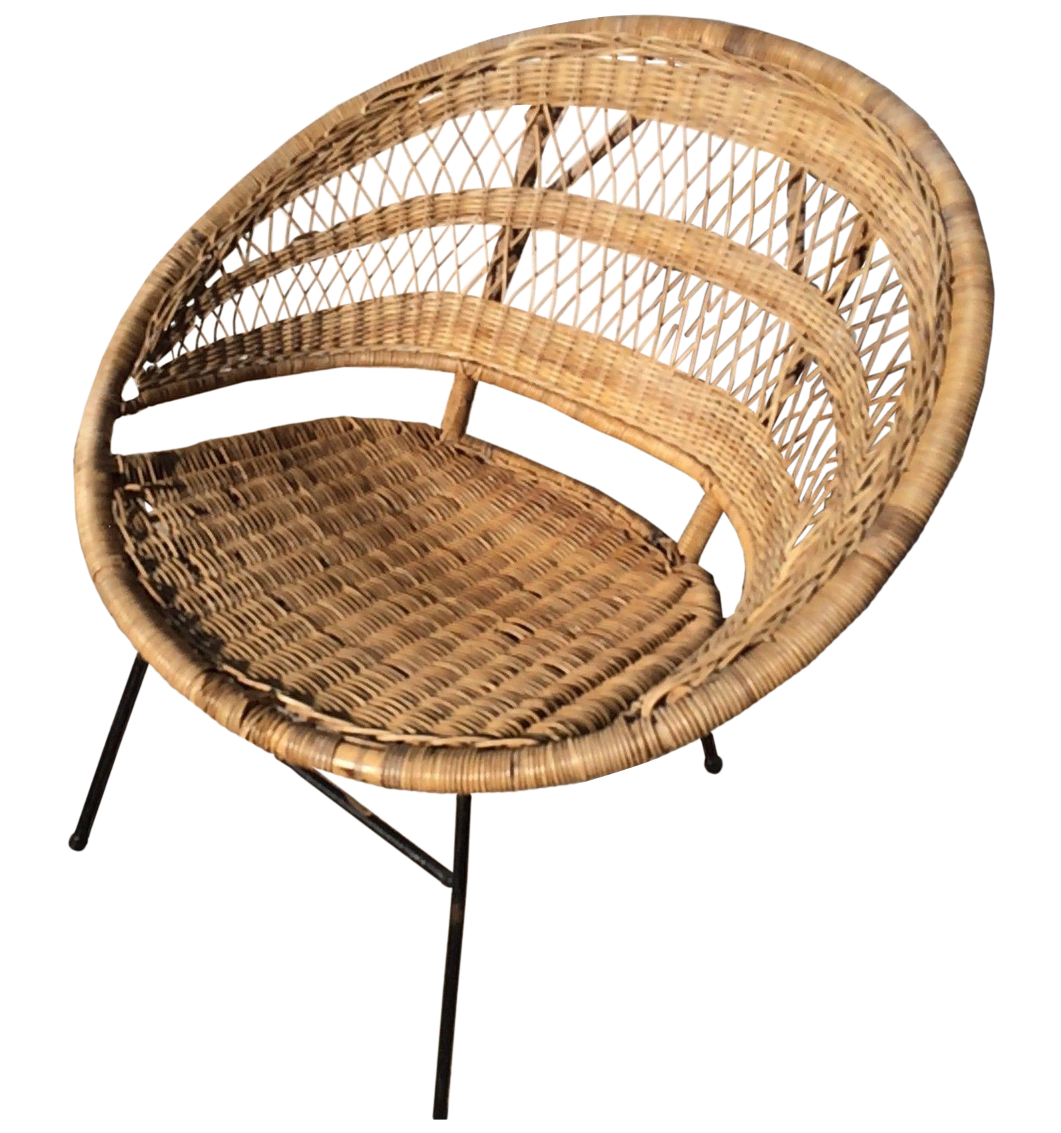 Superb Mid Century Modern Rattan Scoop Chair Uwap Interior Chair Design Uwaporg