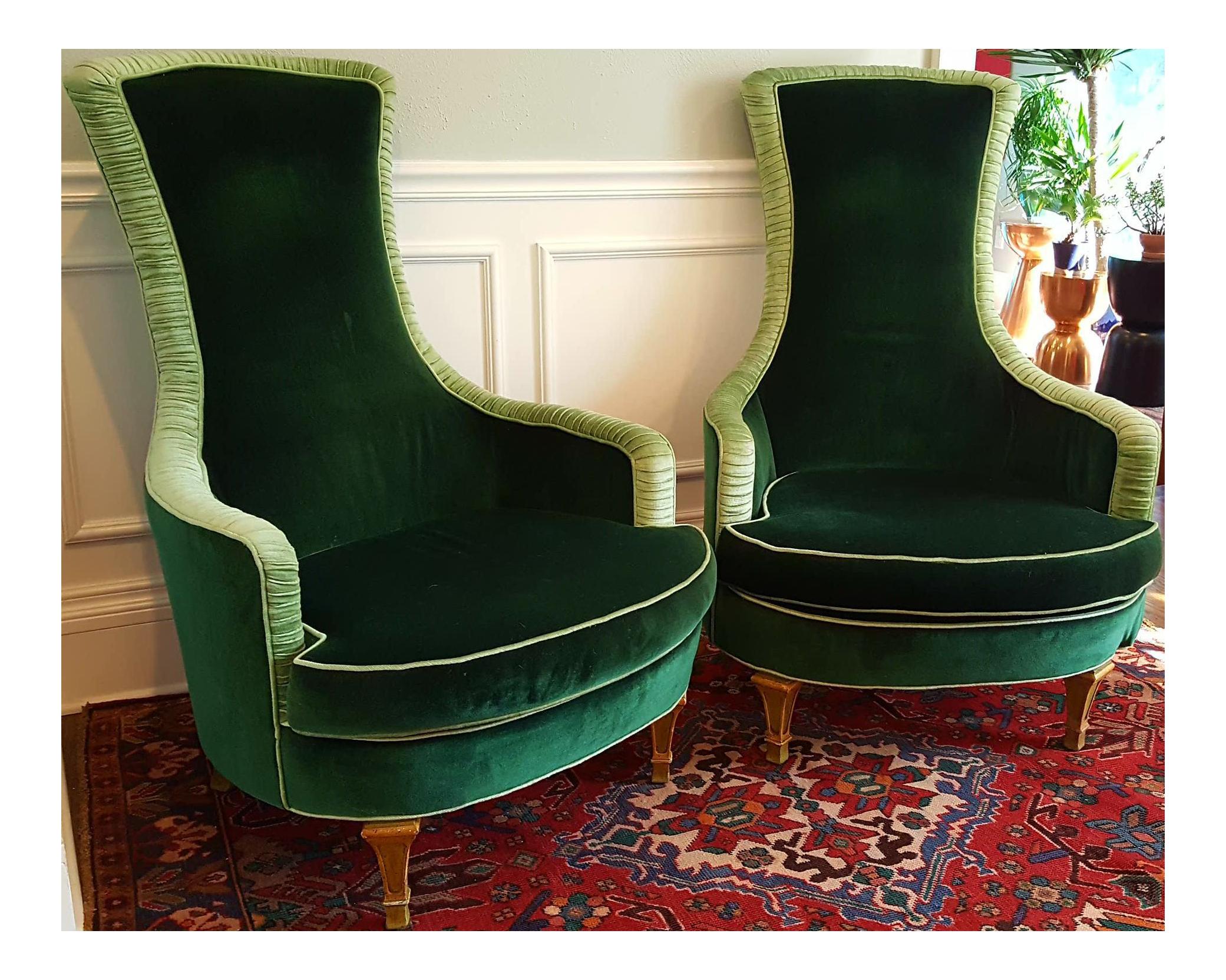Emerald Green Velvet Club Chairs A Pair Chairish