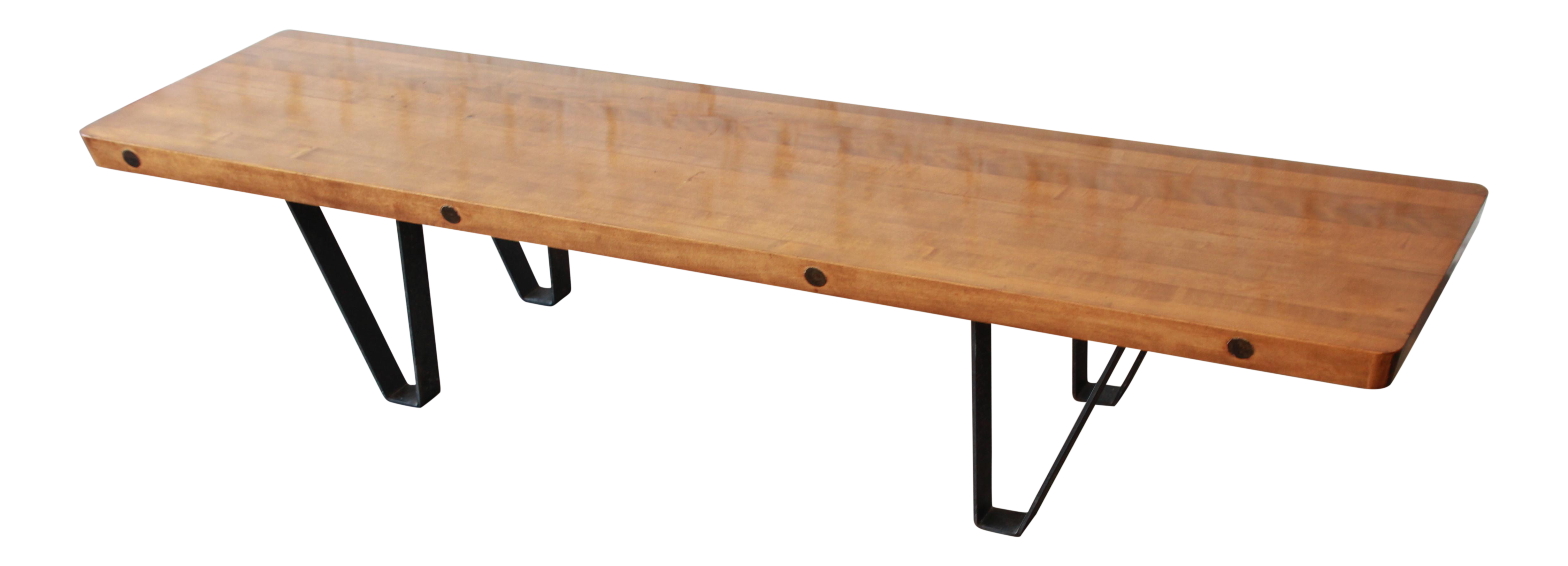 Mid Century Modern Long Bench Or Coffee Table With Bowling Lane Top