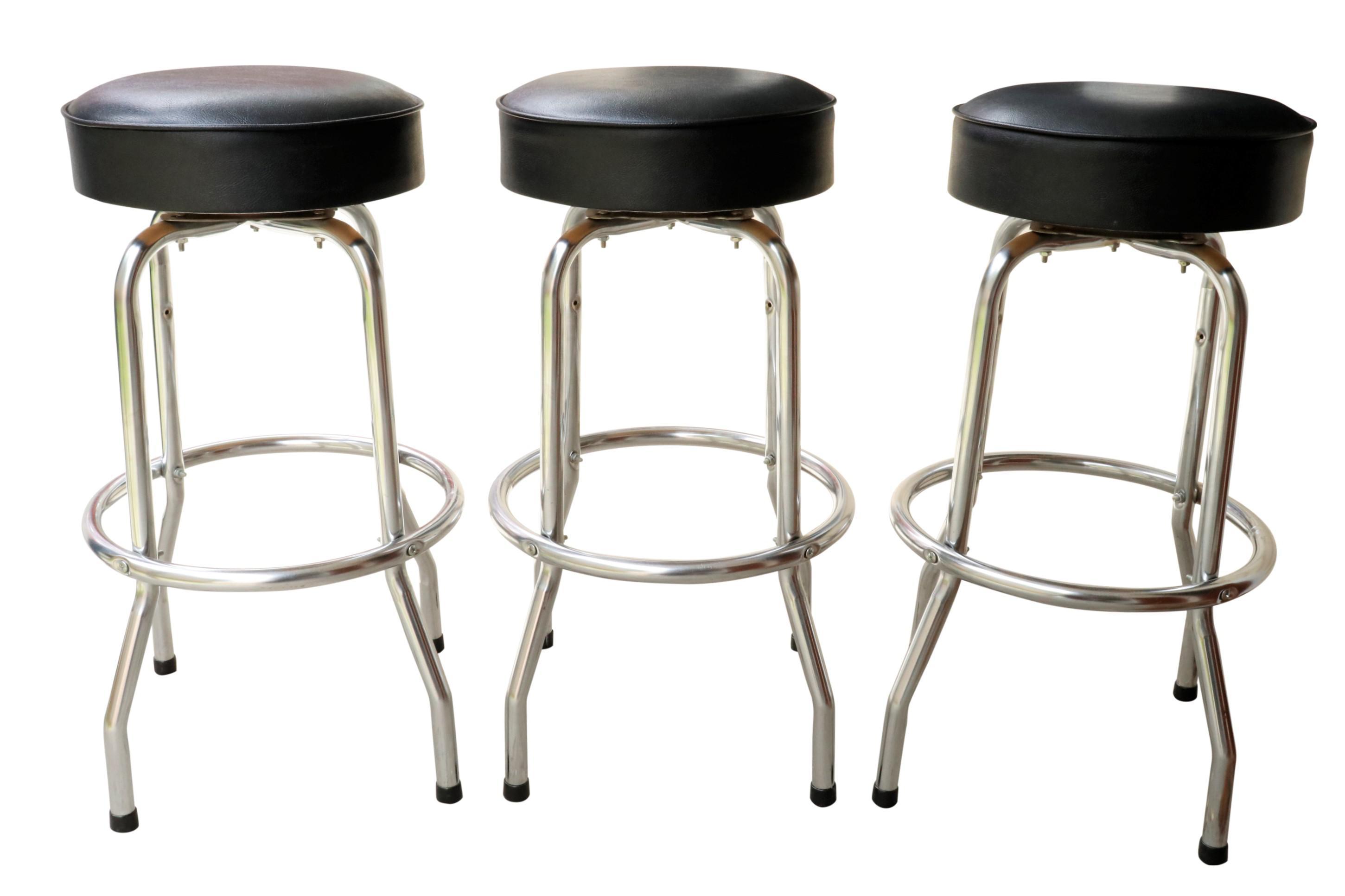 Image of: Mid Century Modern Bar Stools Set Of 3 Chairish