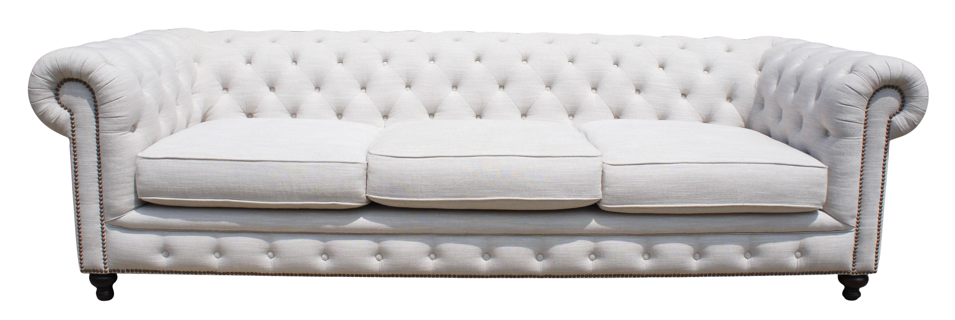Frontgate Barrow Chesterfield Grand White Linen Tufted Sofa