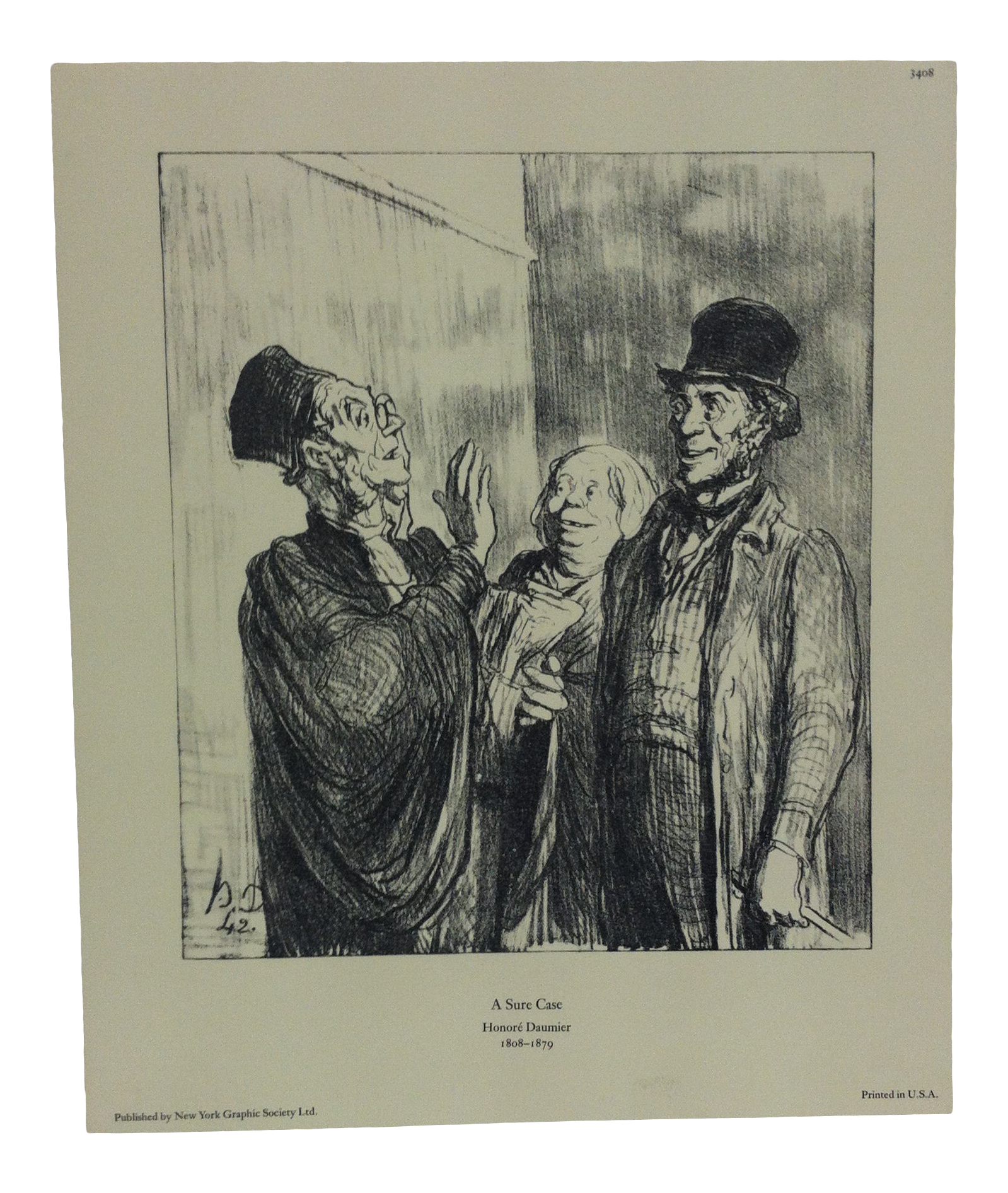 Vintage Mid Century New York A Sure Case Graphic Society Print By Honore Daumier Chairish