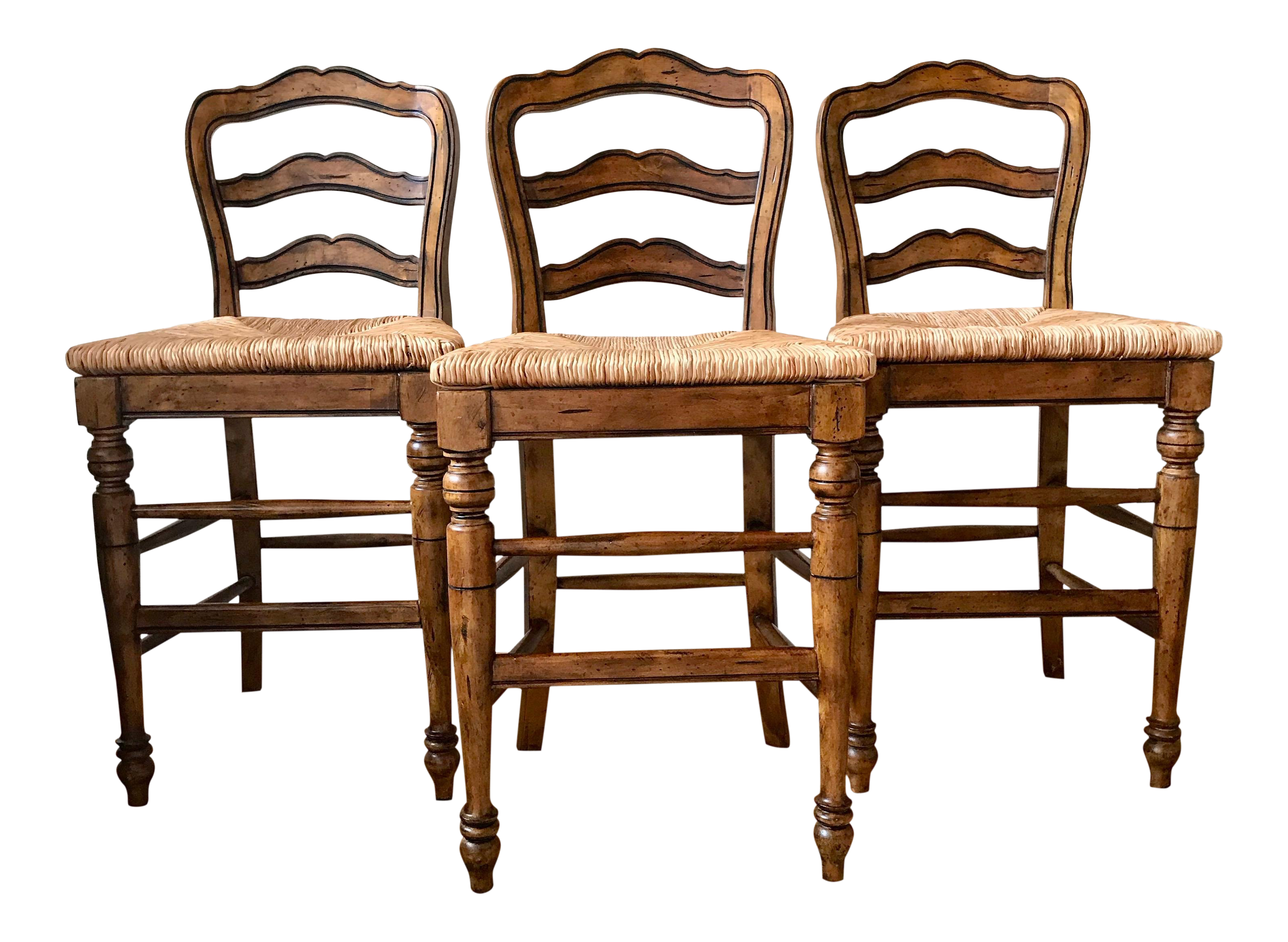 1990s vintage ballard designs avignon counter stools- set of 3