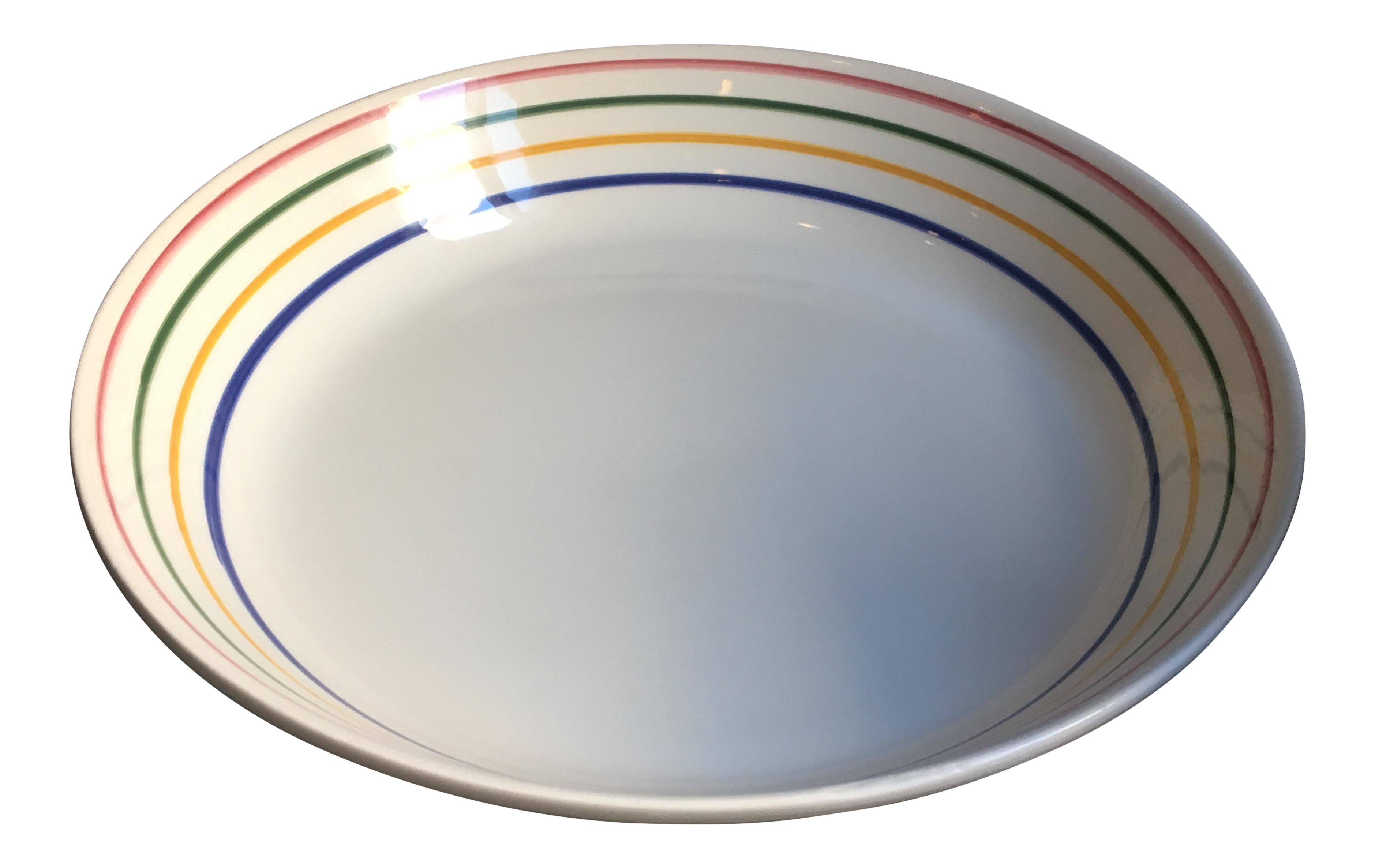 Italian Pottery White Ceramic Serving Bowl W Hand Painted Color Stripes Stovigliere Chairish