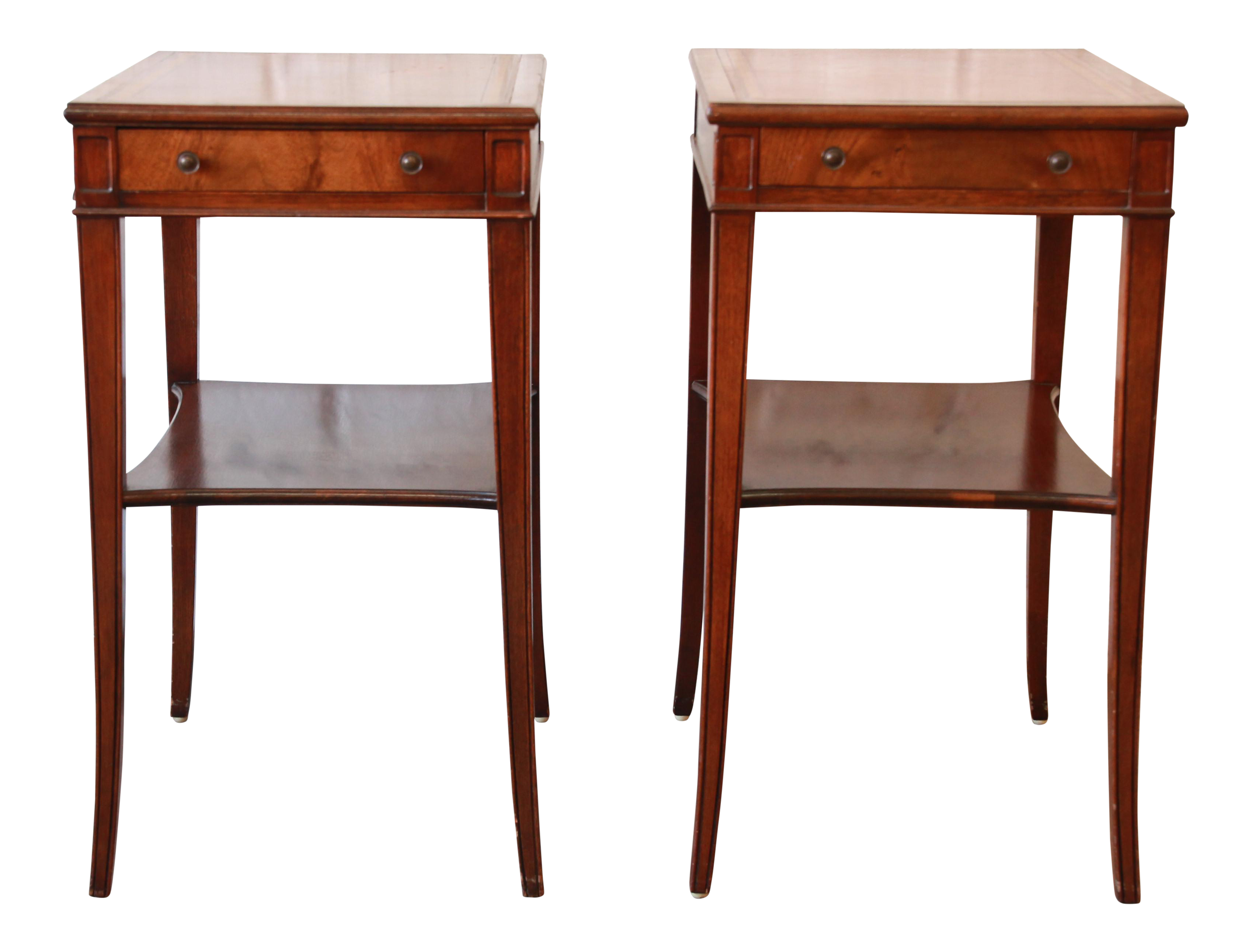 Vintage Fine Arts Furniture Co. Mahogany Leather Top Side Tables  A Pair |  Chairish