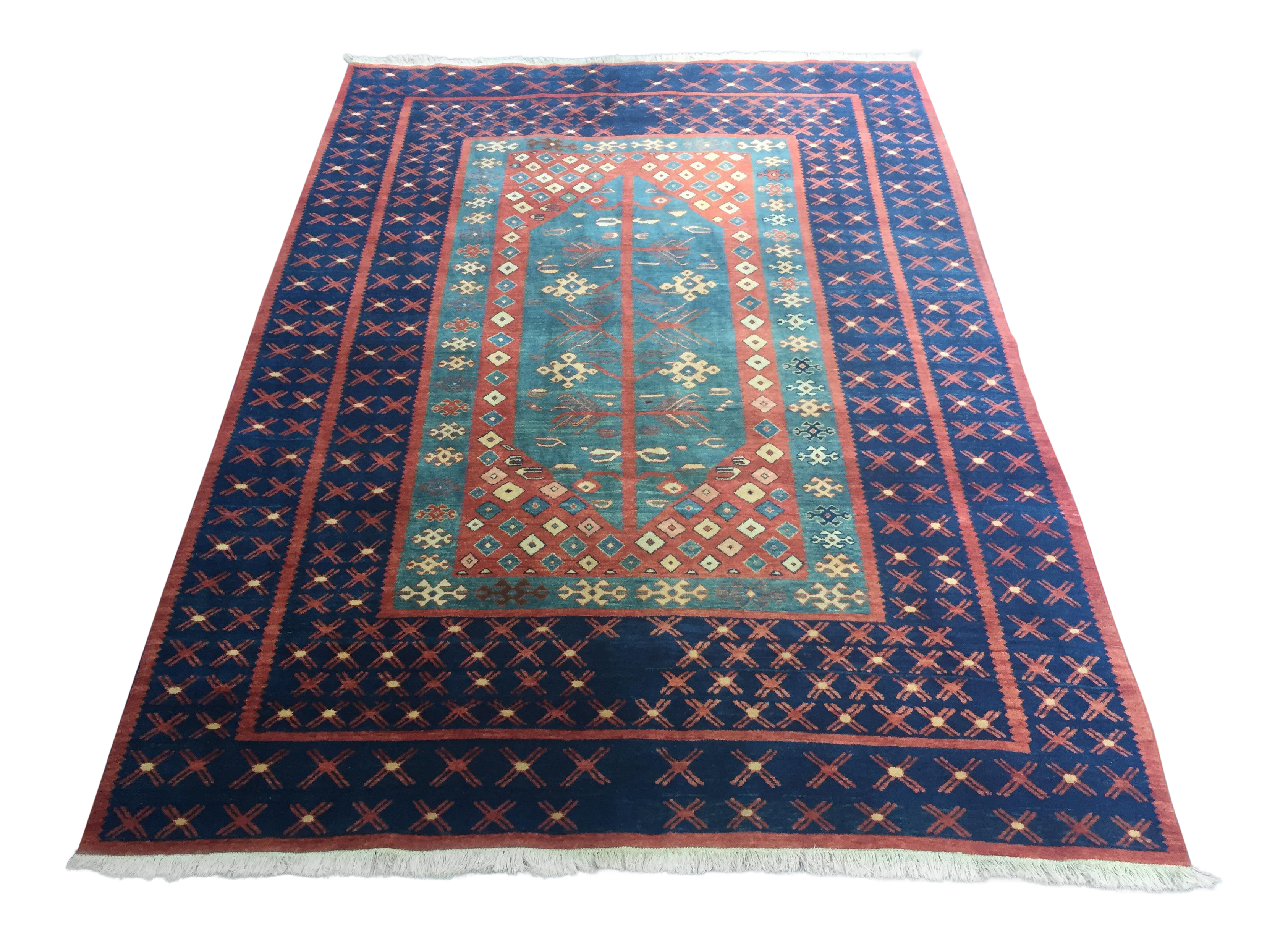 Vintage Turkish Geometric Wool Area Rug 8 X 11 6 Chairish
