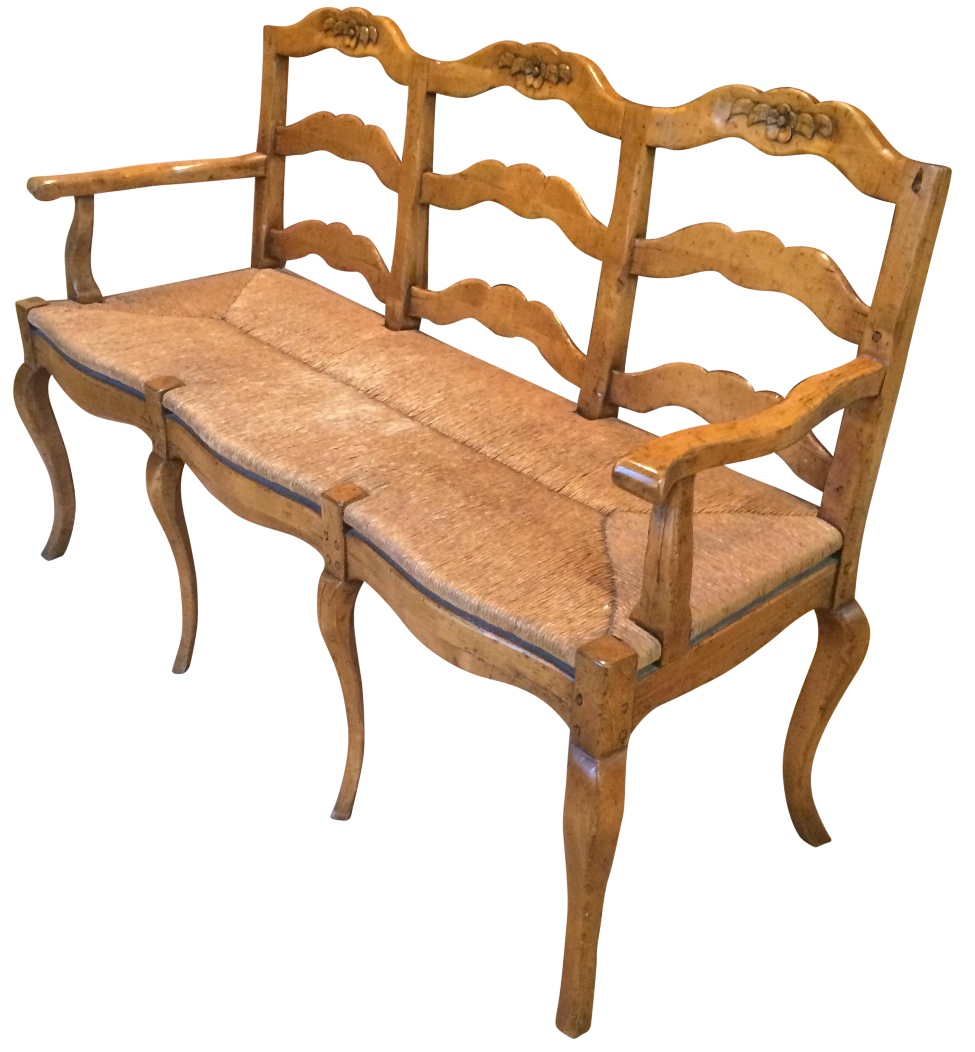 Sensational French Country Wood Rush Seat Bench Pabps2019 Chair Design Images Pabps2019Com