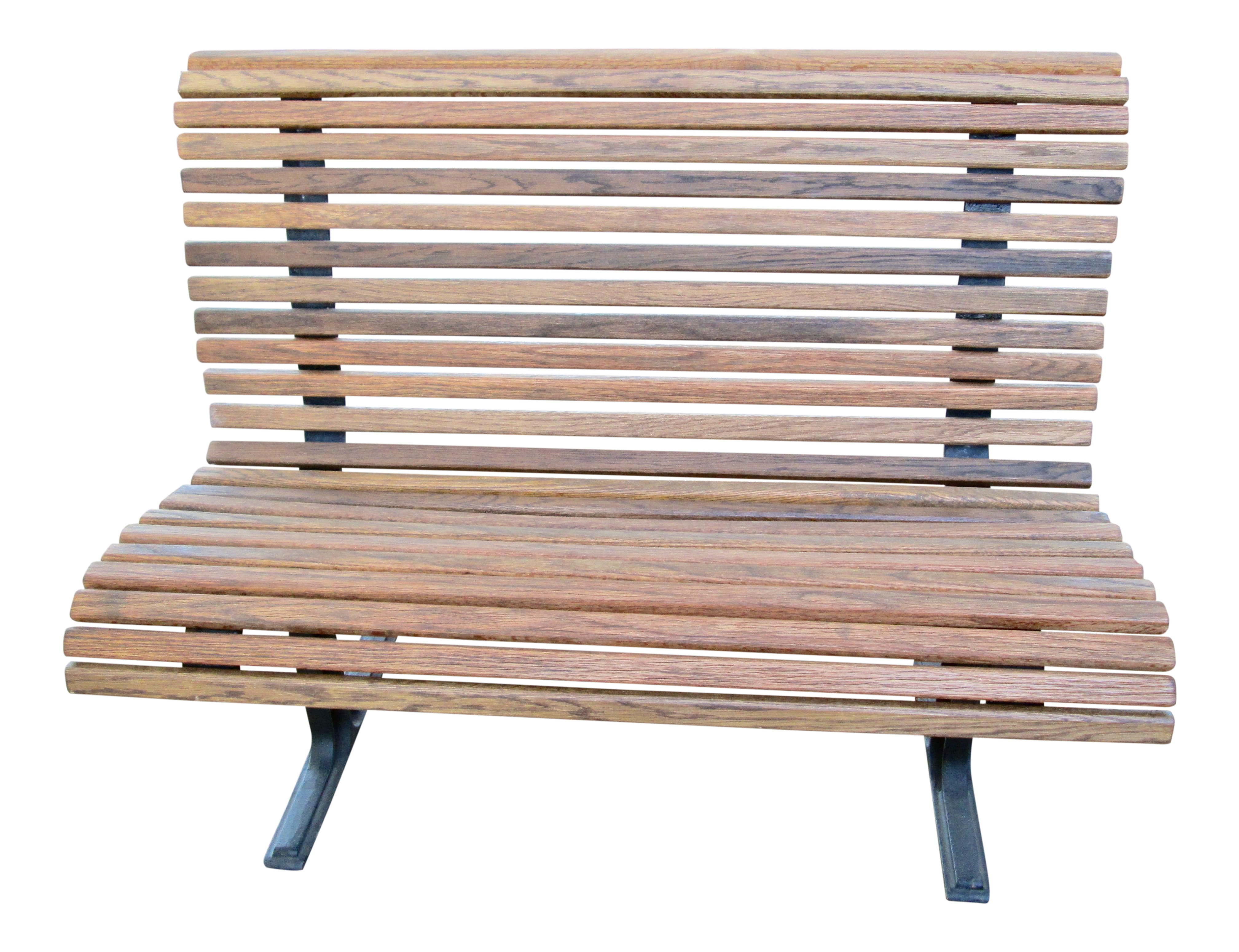 Picture of: 1950 S Vintage Falcon Cast Iron And Oak Slat Wood Bench Chairish