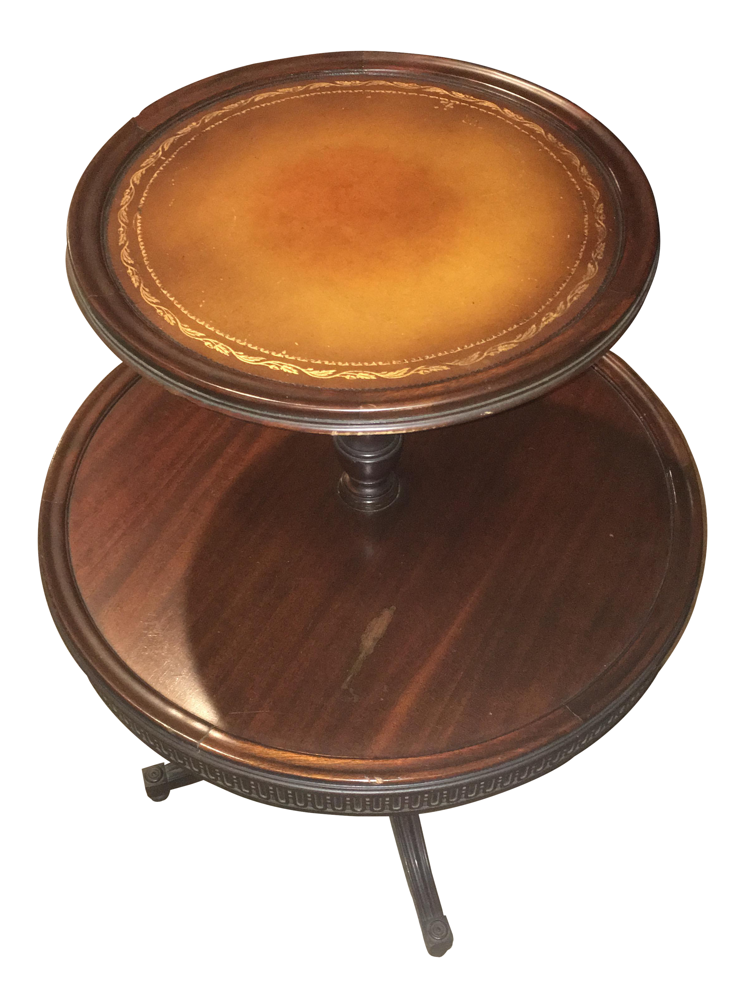 Vintage Leather Top 2 Tier Dumbwaiter Round Side Table