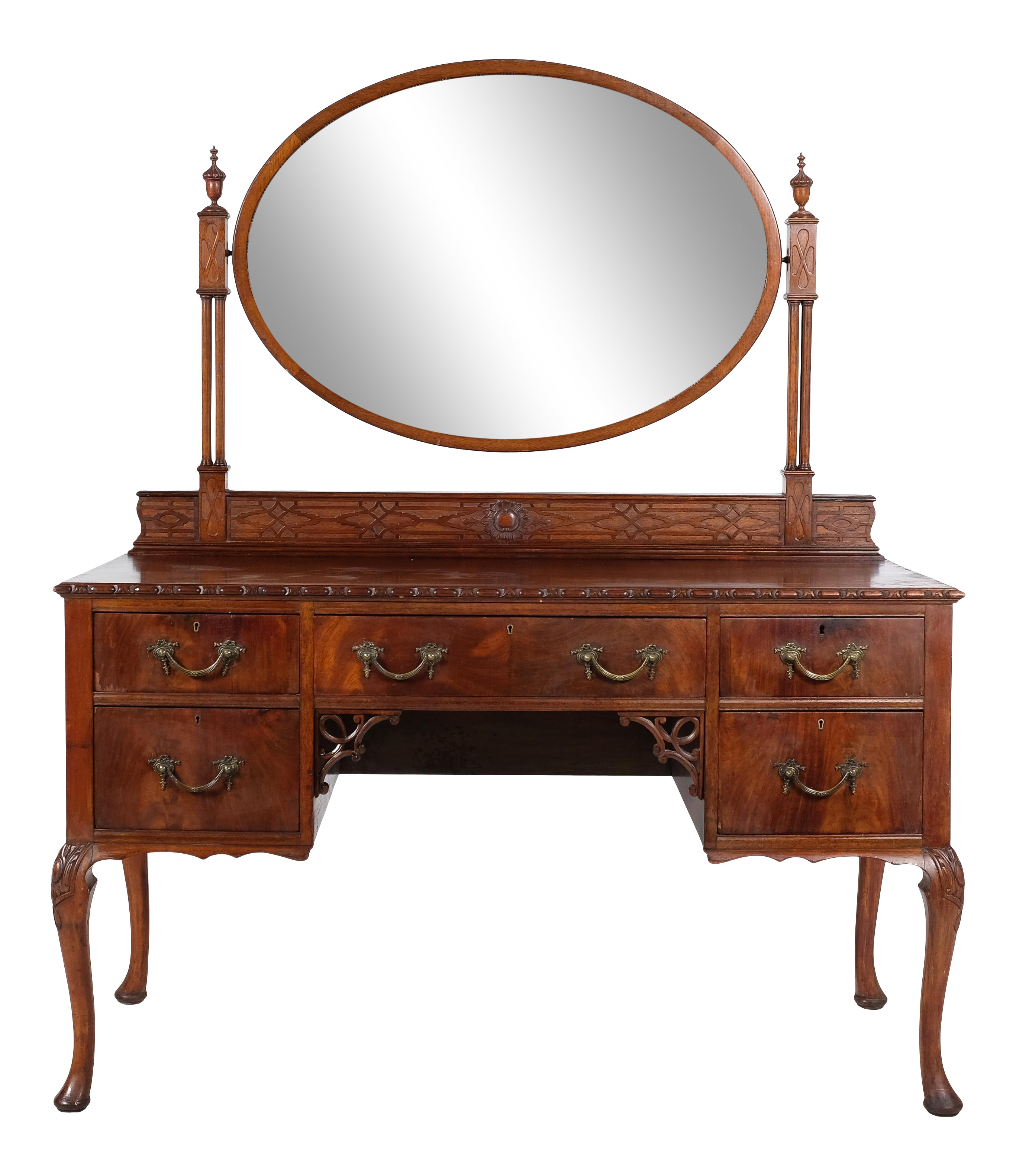 Queen Anne Mahogany Inlay Vanity With Mirror And Secret Compartments Chairish