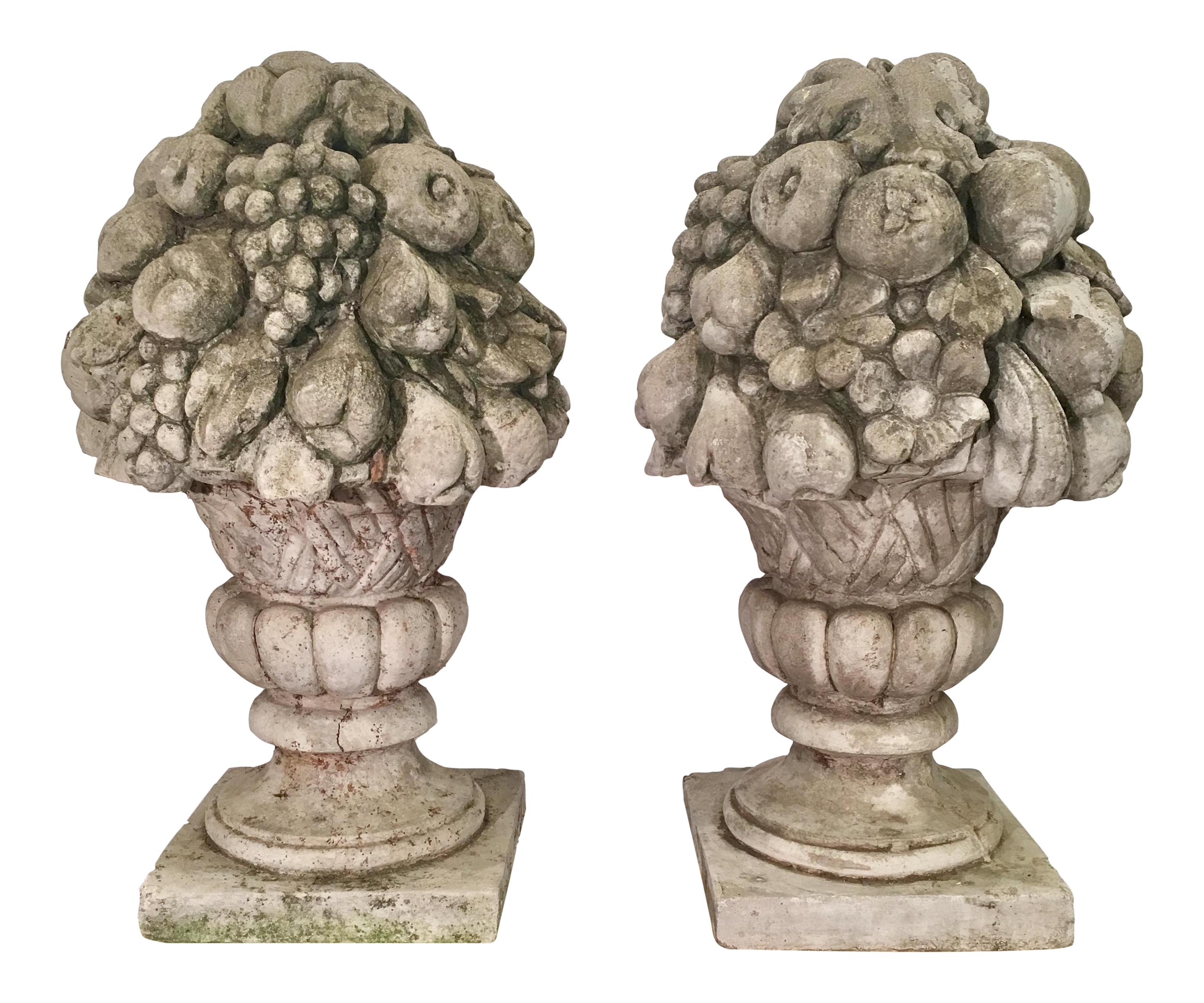 Exceptional Pair Of Huge Antique Fruit Basket Cement Garden Finials | DECASO