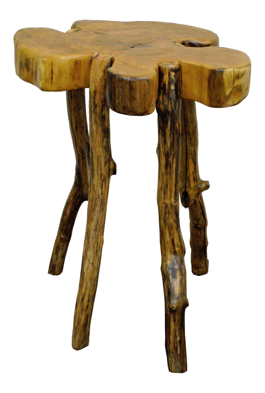 Handmade Robert Powchik Rustic Log Tree Branch Primitive Occasional Side Table Chairish