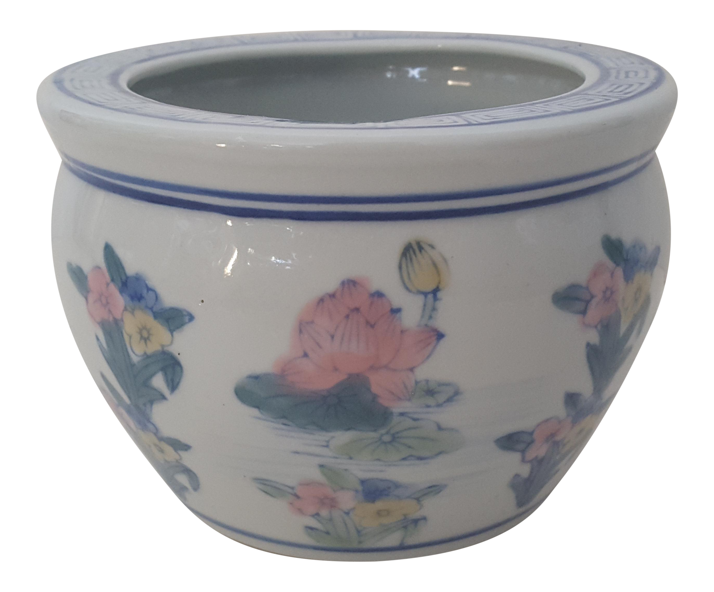 Vintage Blanc De Chine Asian Lotus Flower Cachepot Chairish