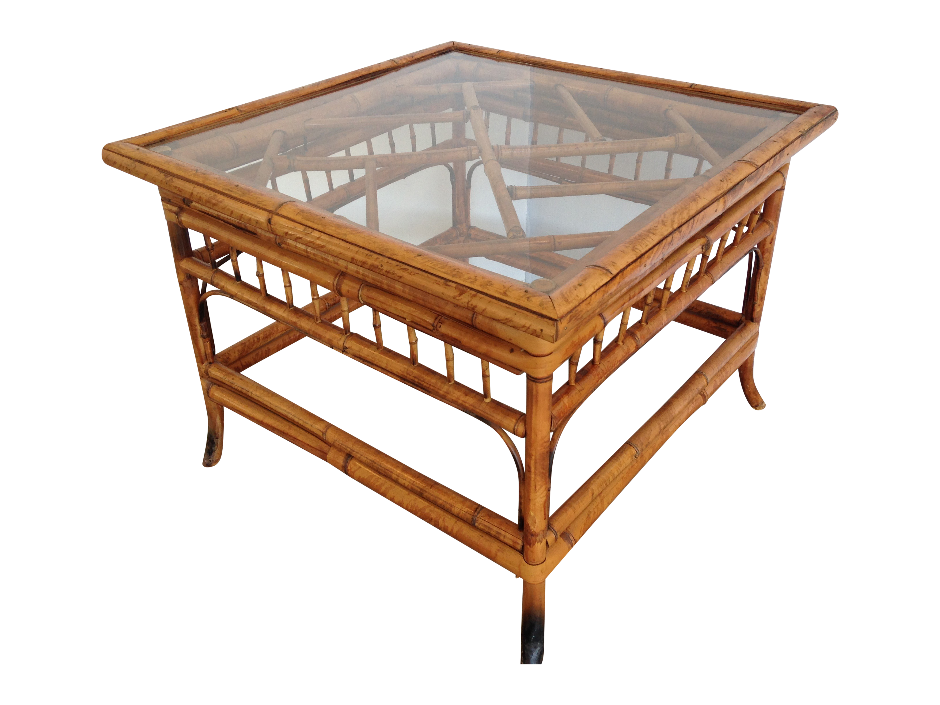 Vintage Bamboo Glass Top Square Side Table Chairish - Bamboo end table glass top