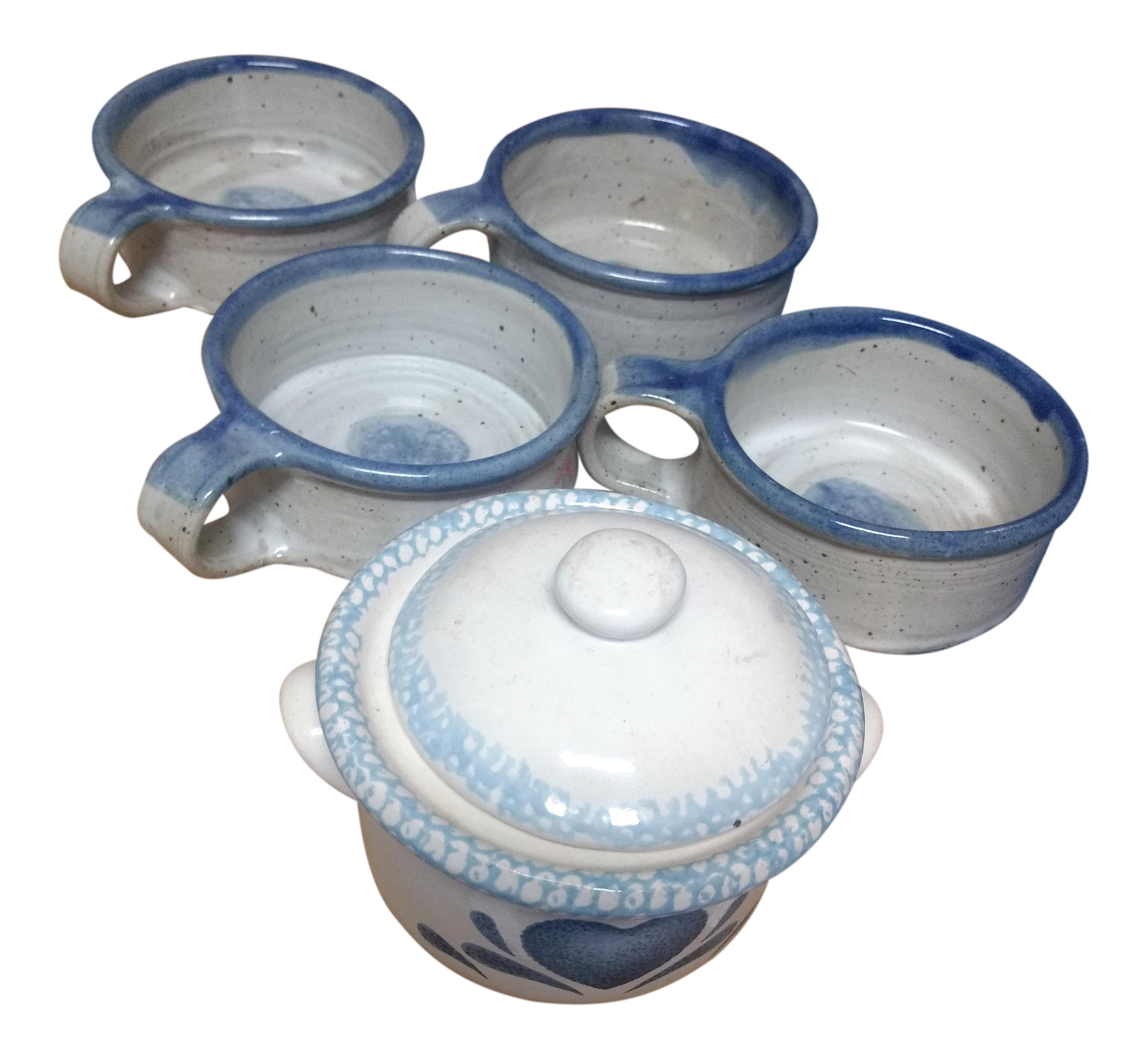 Blue Floral Soup Cups & Canister Set - Set of 6 | Chairish