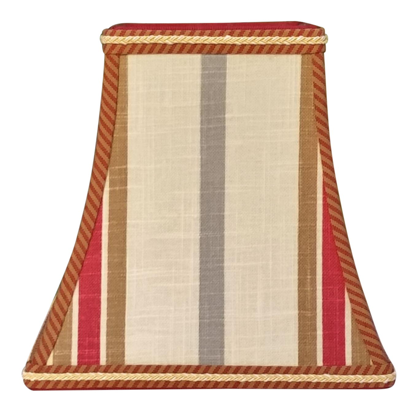 Striped Red Brown Blue Gray Square Bell Clip On Lamp Shade Chairish