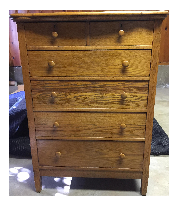 Antique Tiger Oak 6 Drawer Highboy Dresser