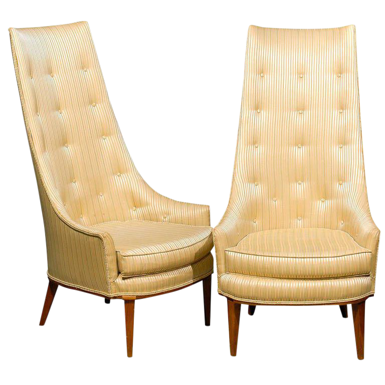 Mid Century Tufted High Back Chairs A Pair Chairish