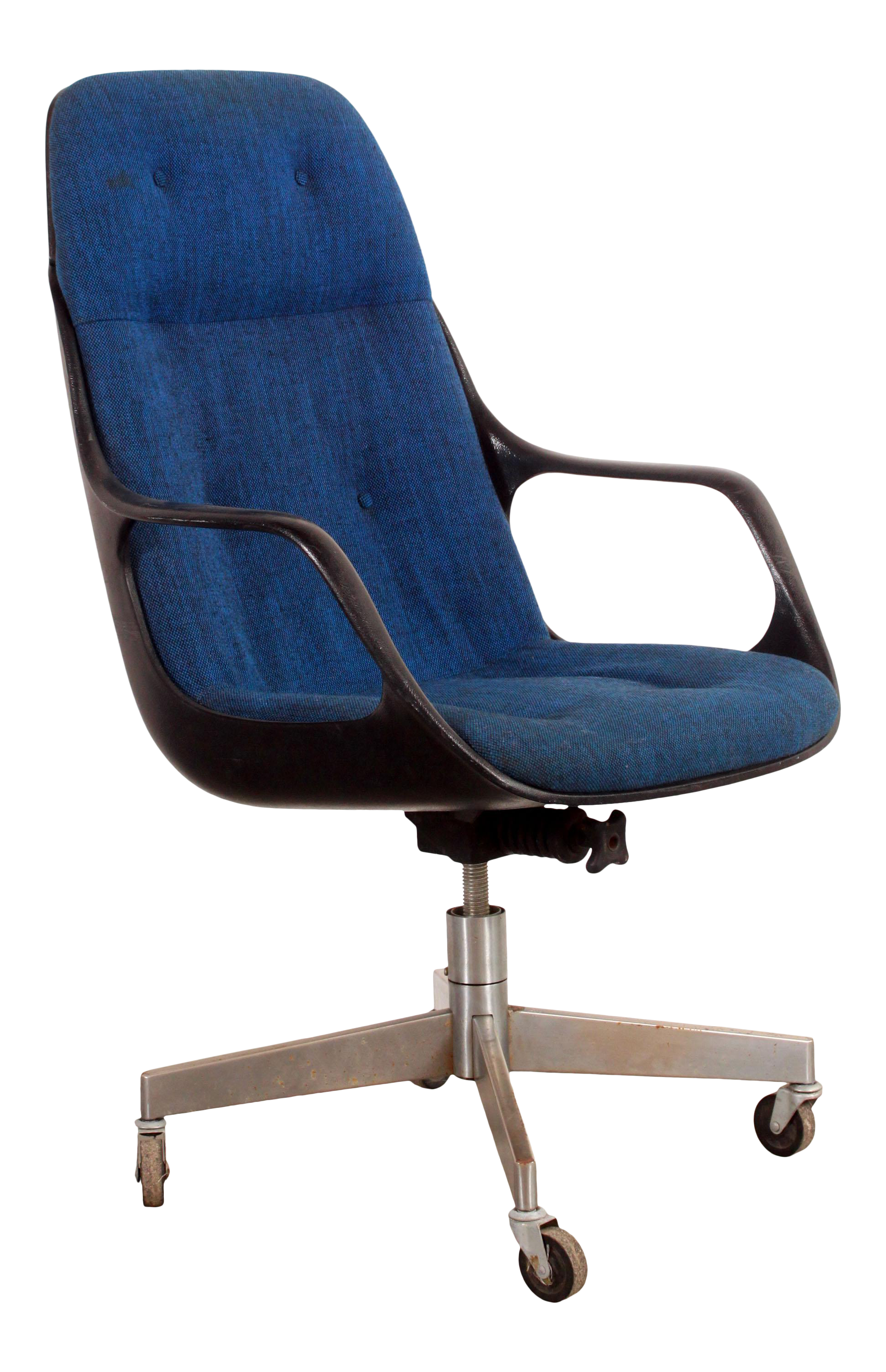 Vintage Mid Century Modern Blue High Back Executive Desk Chair