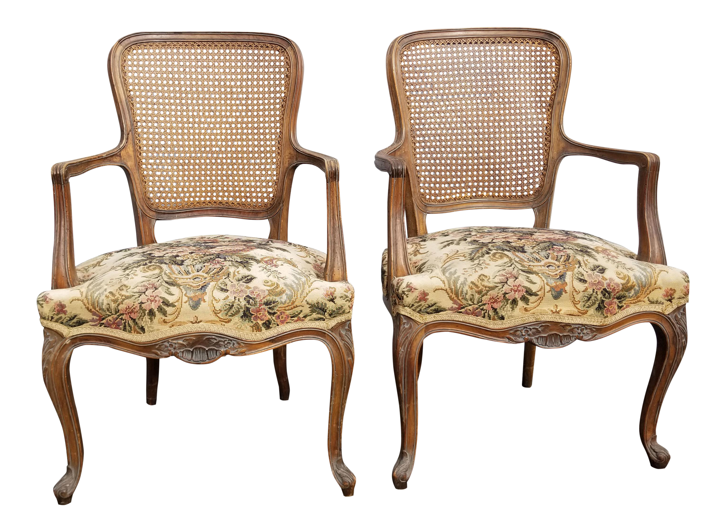 Floral Accent Chairs.Vintage Mid Century French Provincial Country White Floral Accent Chairs A Pair