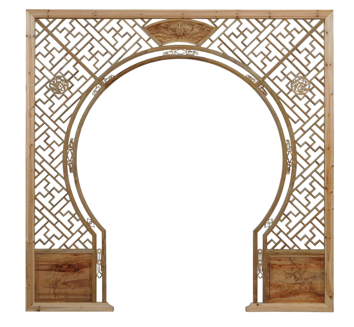Chinese Light Natural Wood Around Arch Wood Room Divider