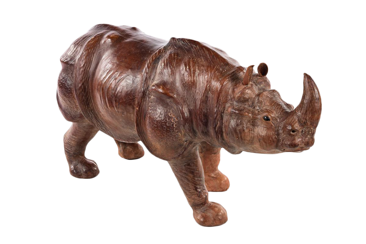 light kitchen cabinets vintage leather rhinoceros sculpture chairish 22659