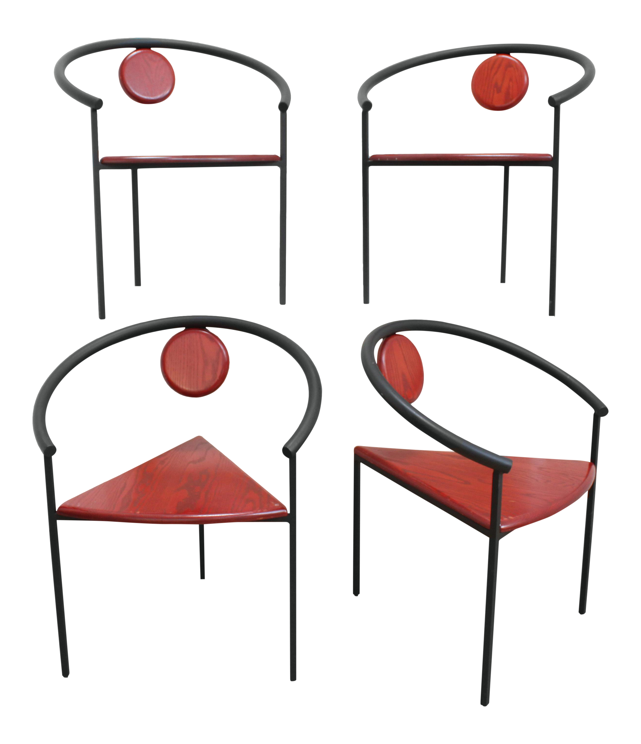 Stacking Geometric Triangle Tripod Dining Chairs- Post Modern Memphis Group