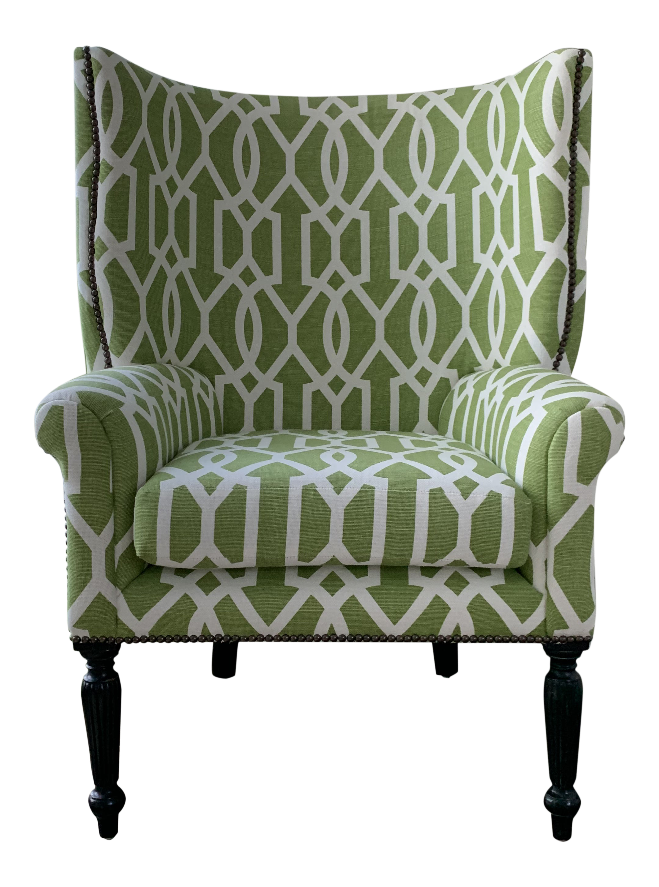 Custom Upholstered Victoria Hagan Wingback Chair